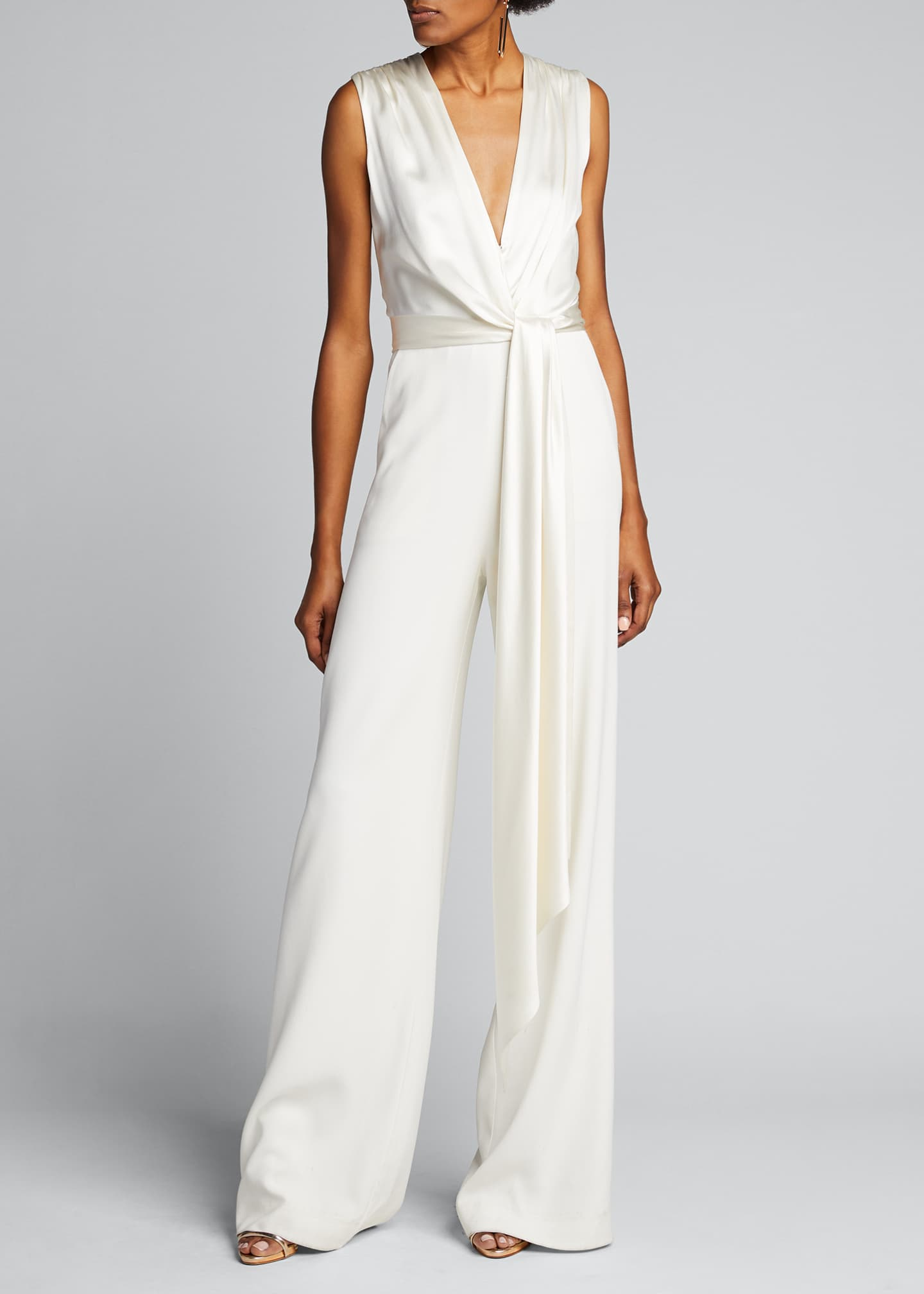 Image 3 of 5: Satin Combo Wrap Jumpsuit