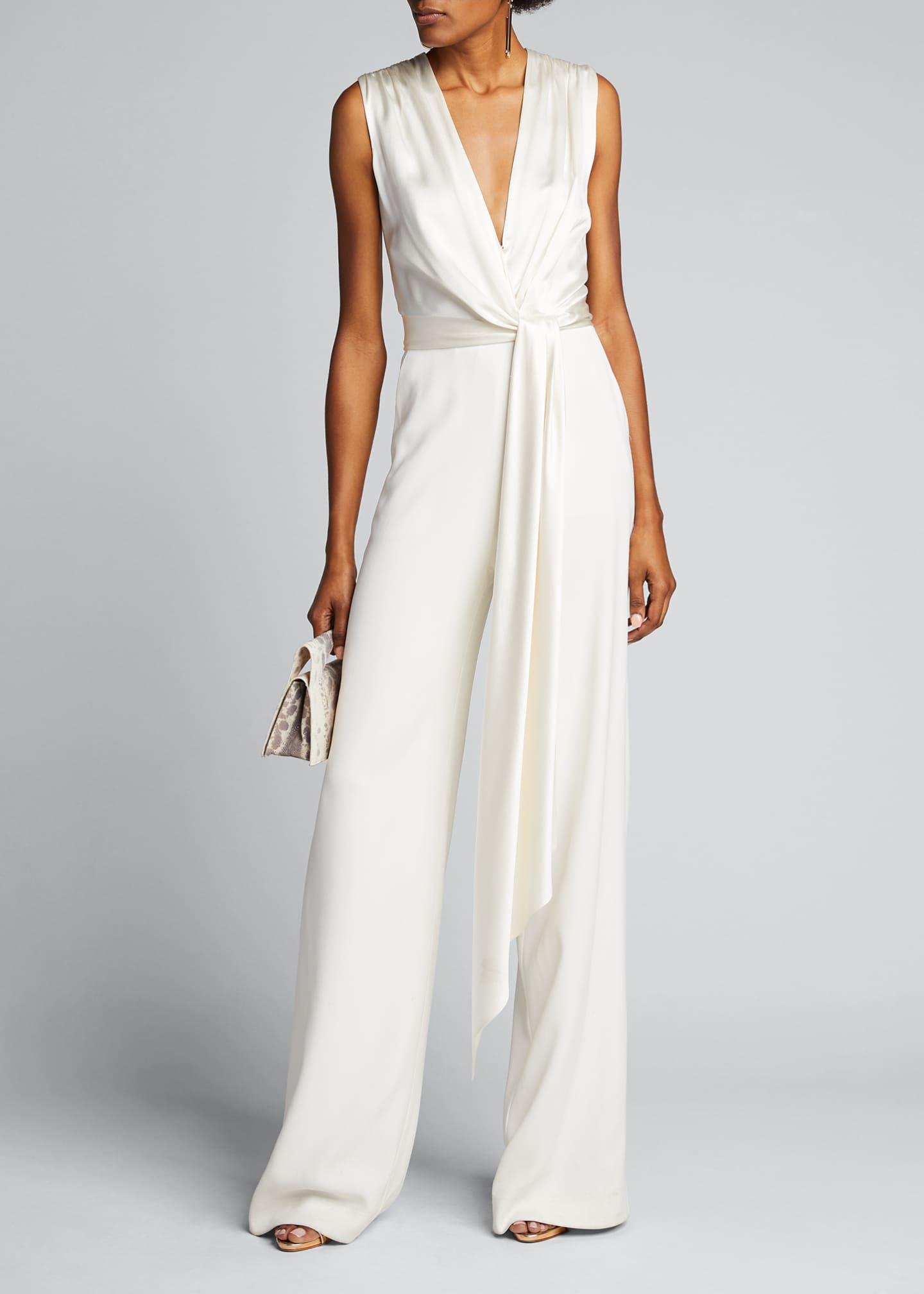 Image 1 of 5: Satin Combo Wrap Jumpsuit