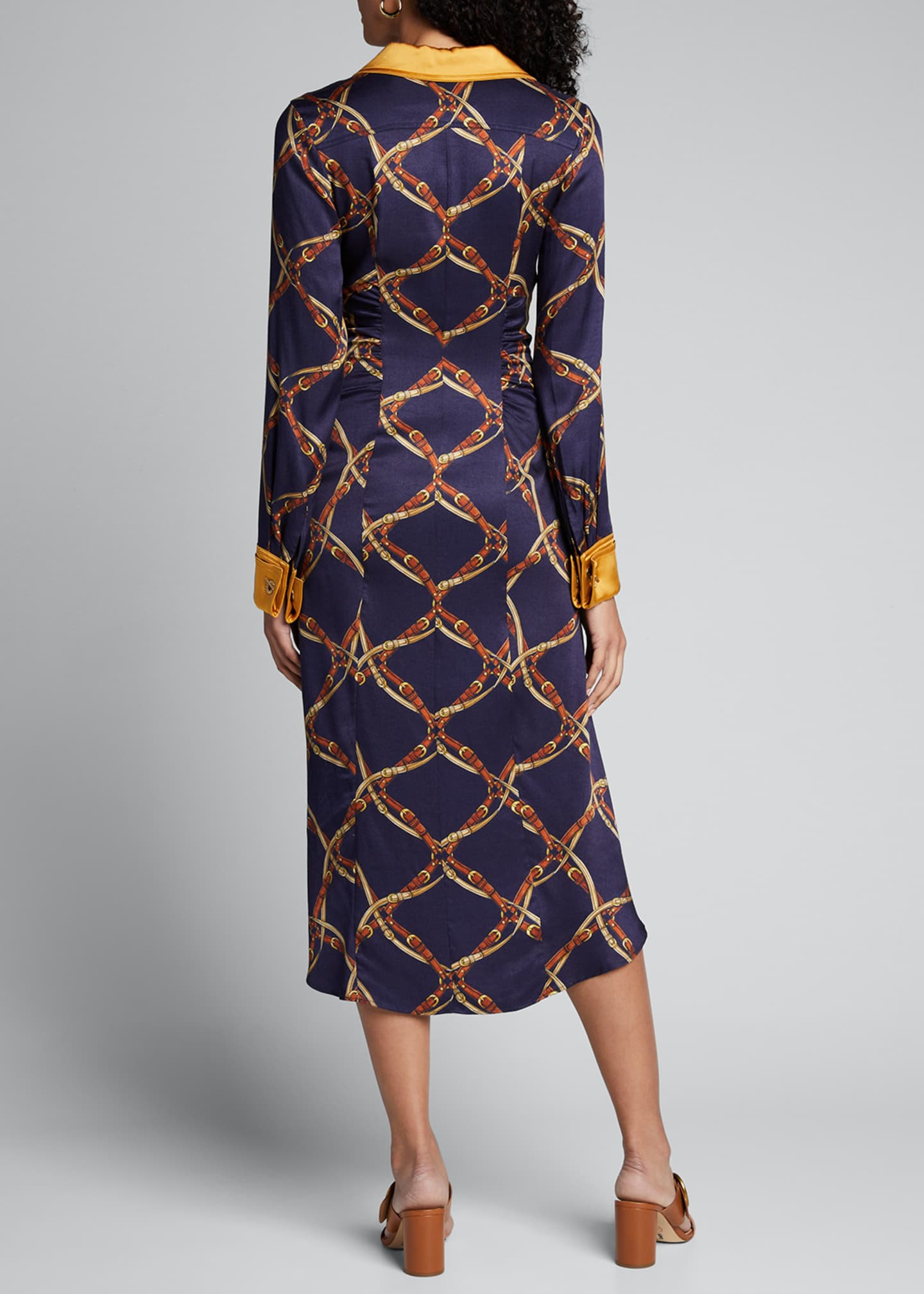 Image 2 of 5: Saddle-Print Ruched Long-Sleeve Shirtdress
