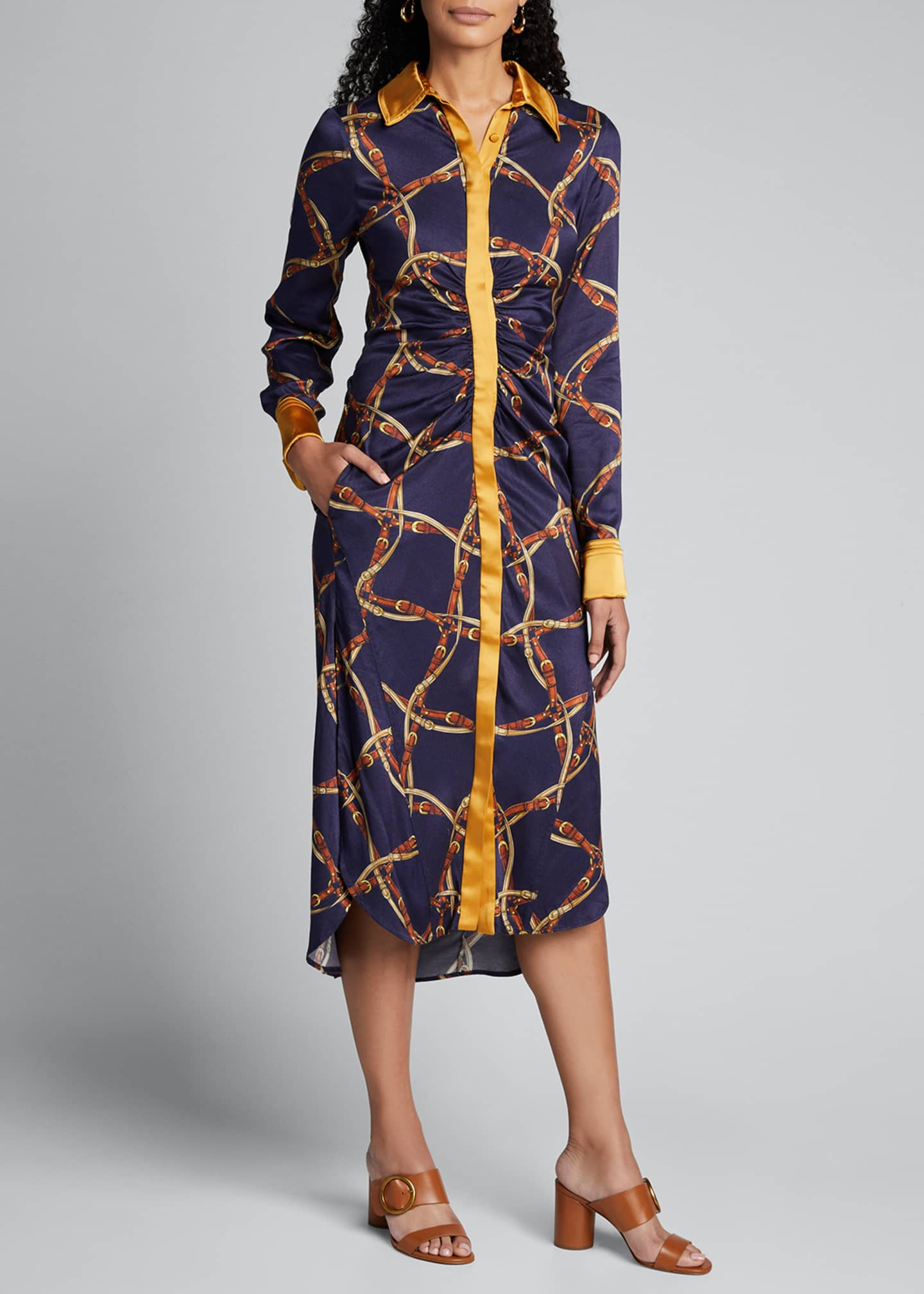 Image 3 of 5: Saddle-Print Ruched Long-Sleeve Shirtdress
