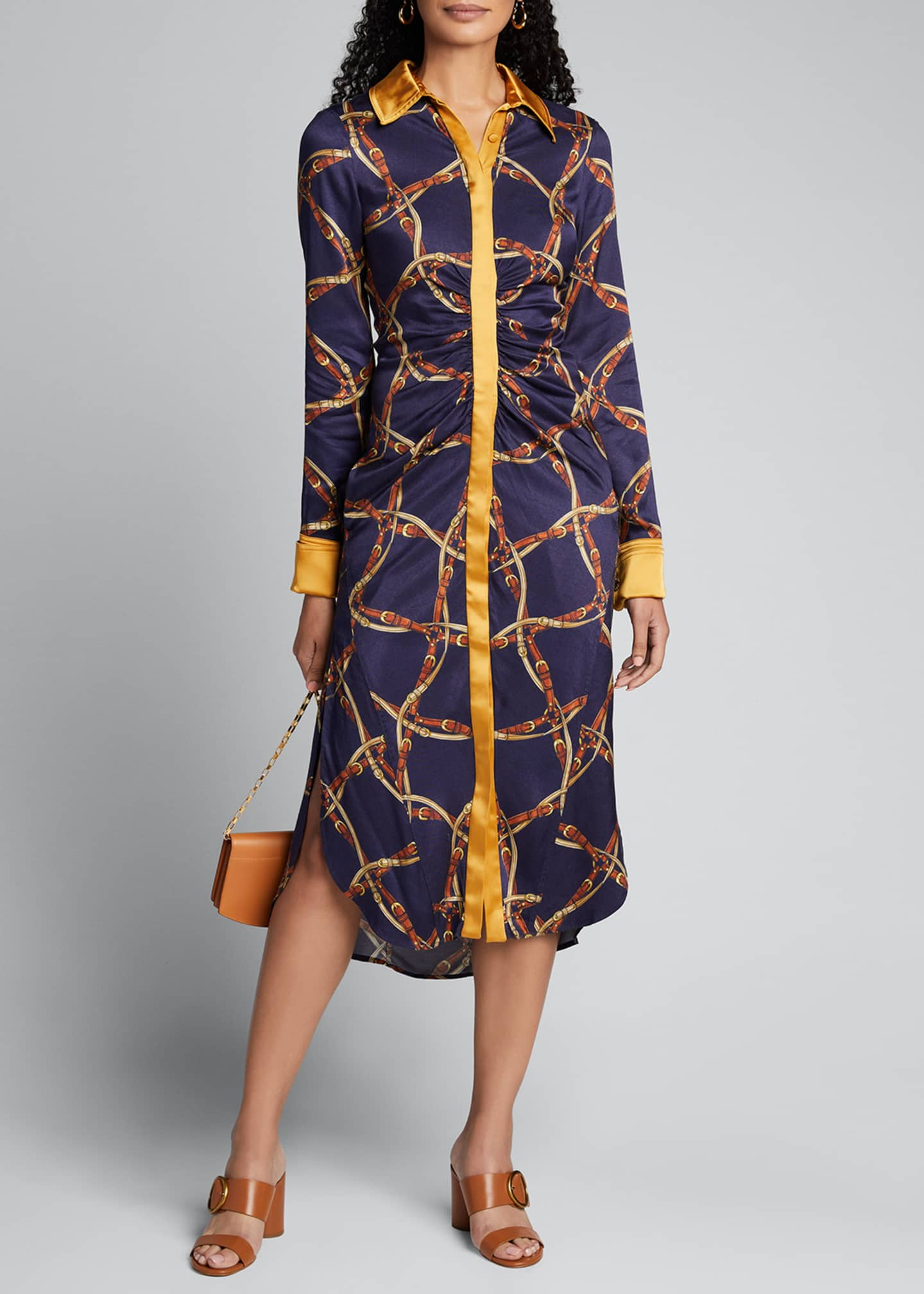 Saddle-Print Ruched Long-Sleeve Shirtdress