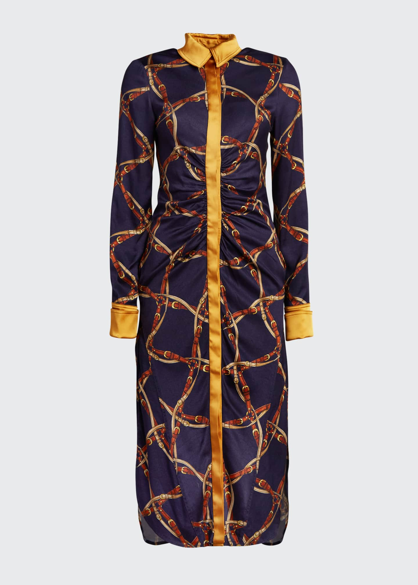Image 5 of 5: Saddle-Print Ruched Long-Sleeve Shirtdress