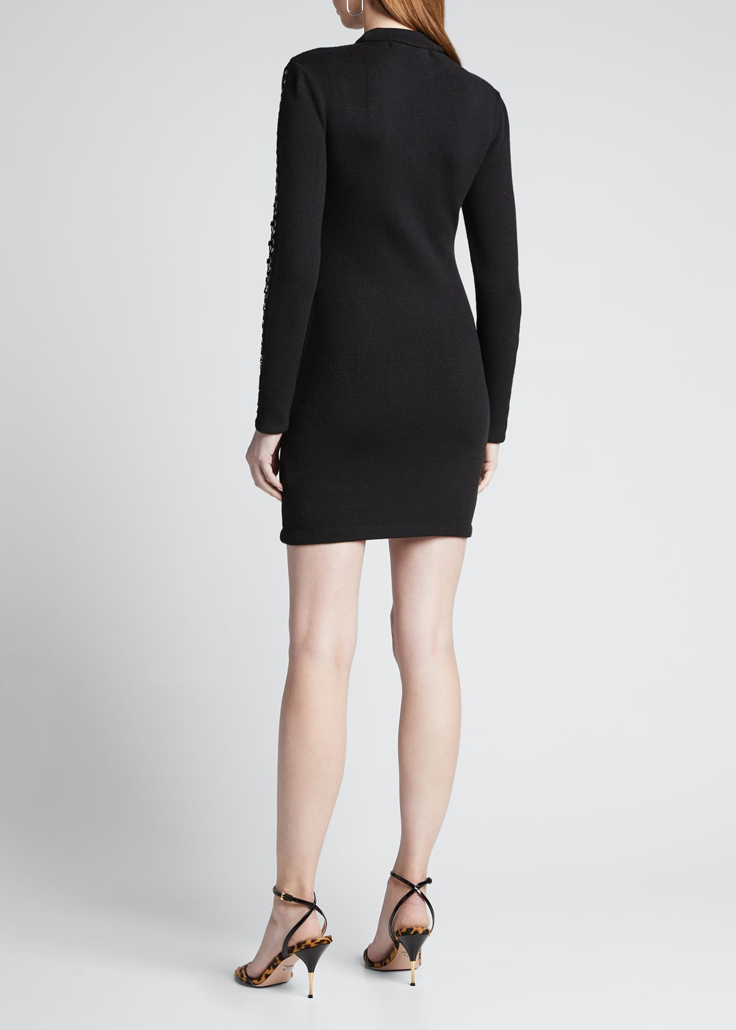 Image 2 of 5: Directional Rib Long-Sleeve Mini Dress w/ O-Rings