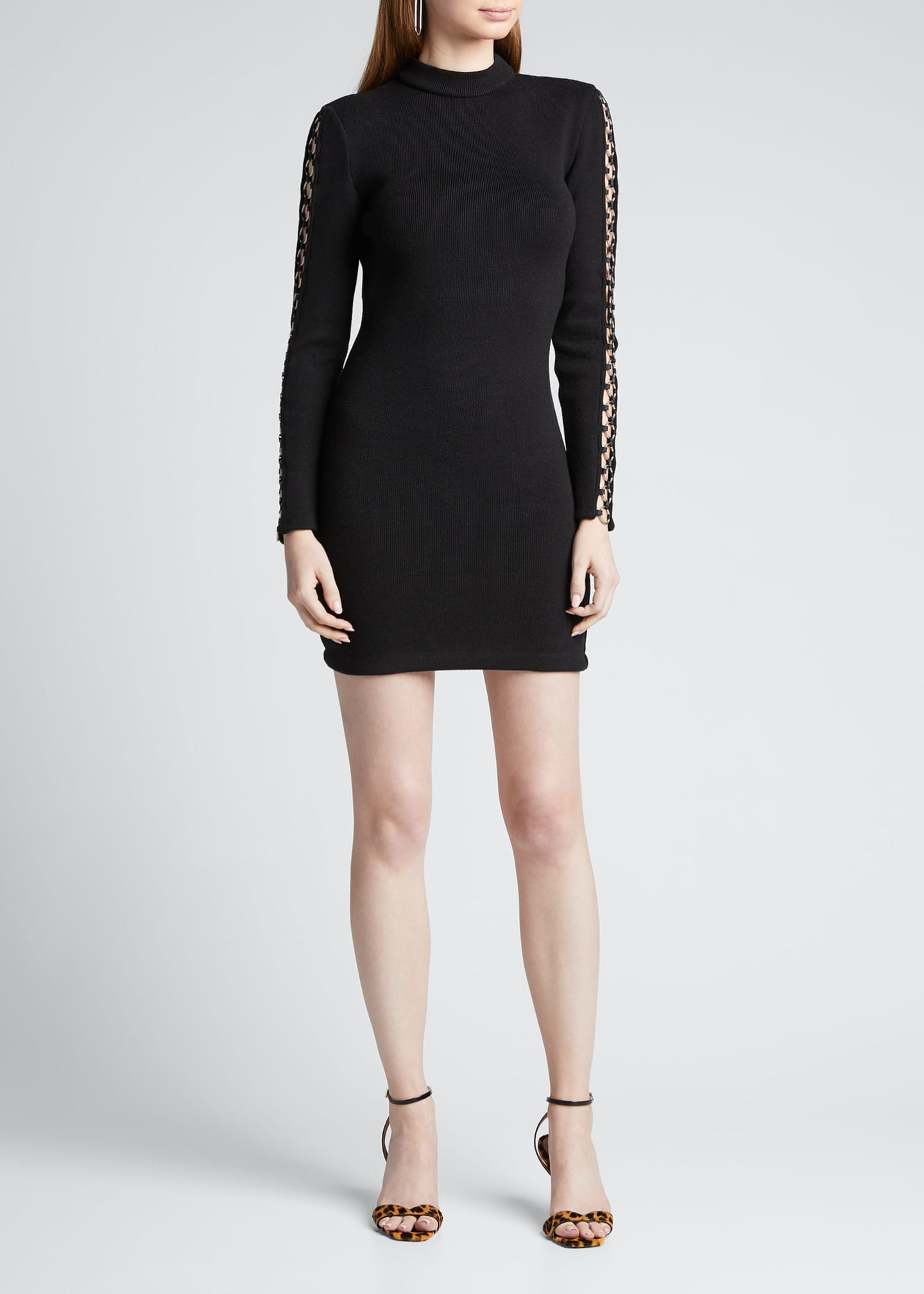 Image 3 of 5: Directional Rib Long-Sleeve Mini Dress w/ O-Rings