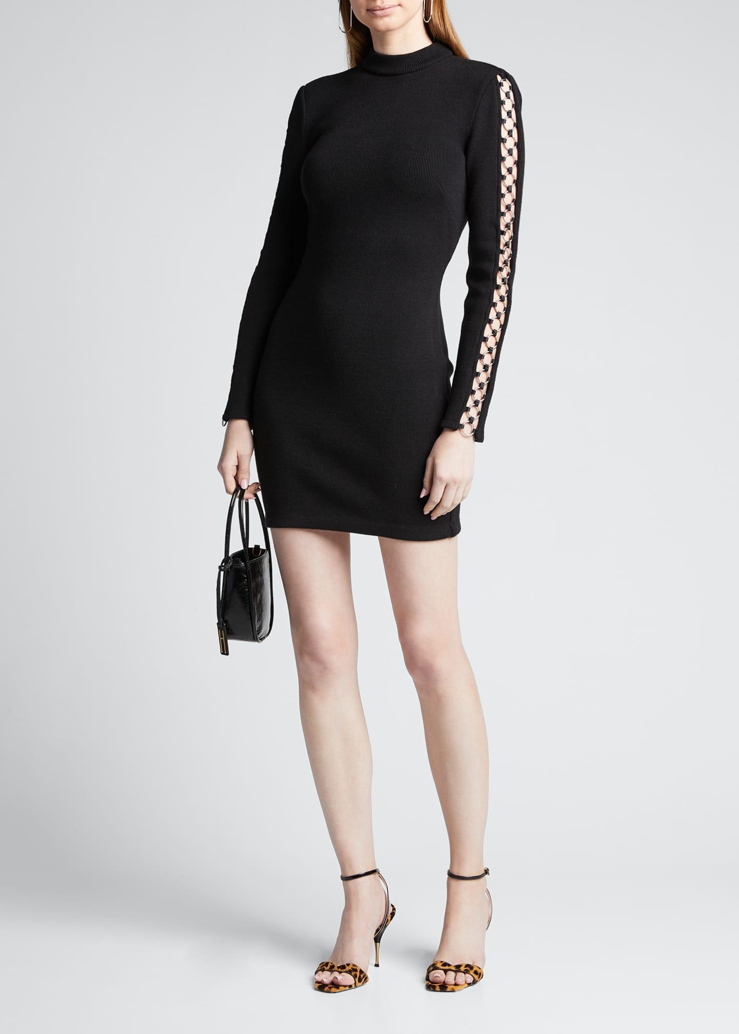 Image 1 of 5: Directional Rib Long-Sleeve Mini Dress w/ O-Rings