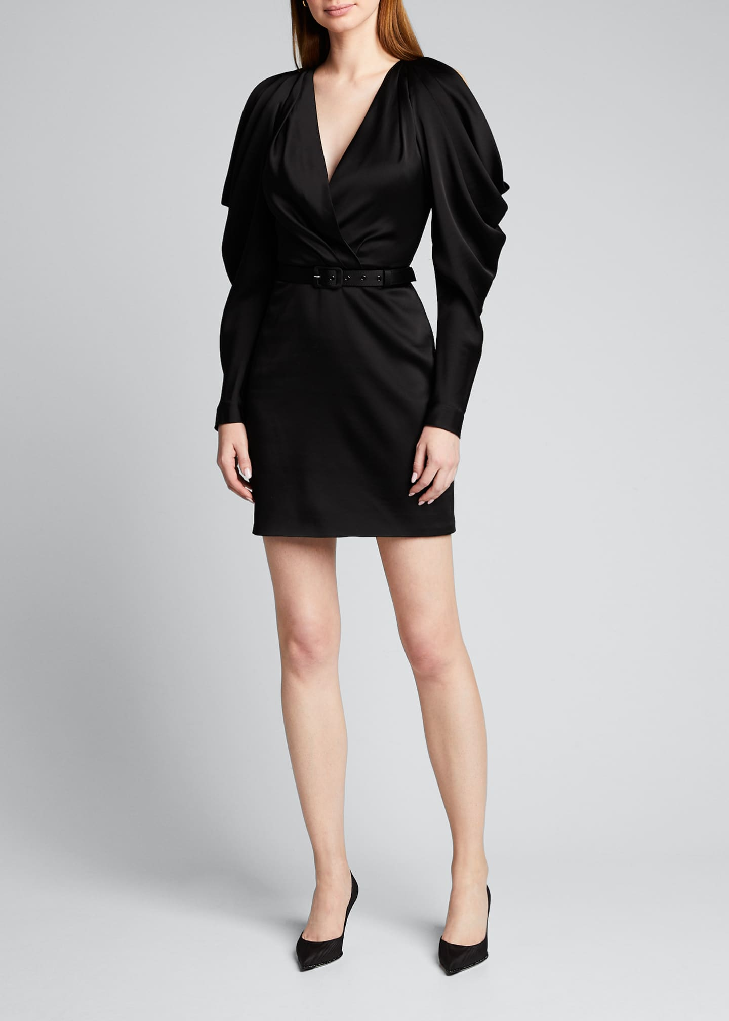Image 3 of 5: Open-Sleeve Woven Belted Mini Dress