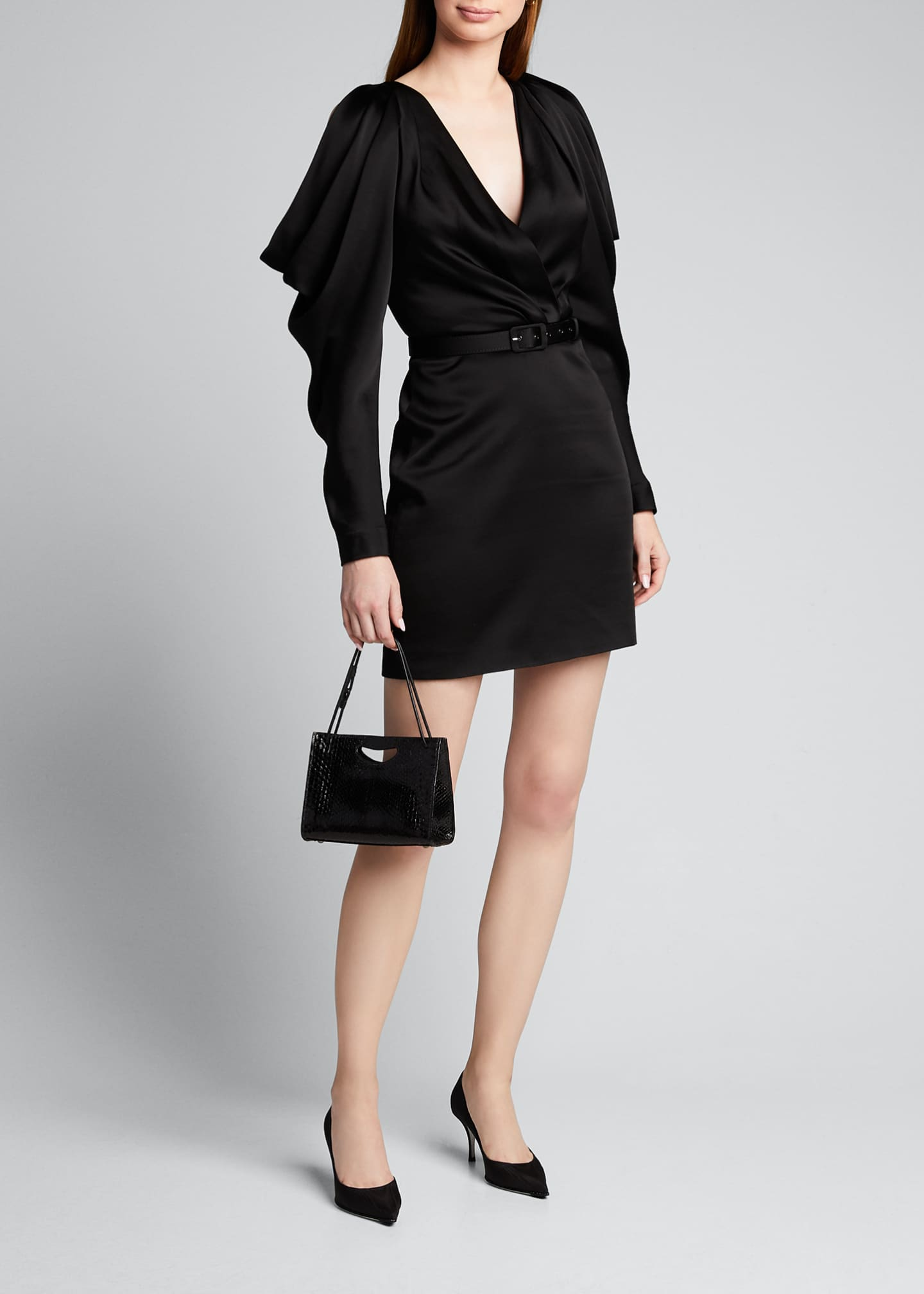 Image 1 of 5: Open-Sleeve Woven Belted Mini Dress