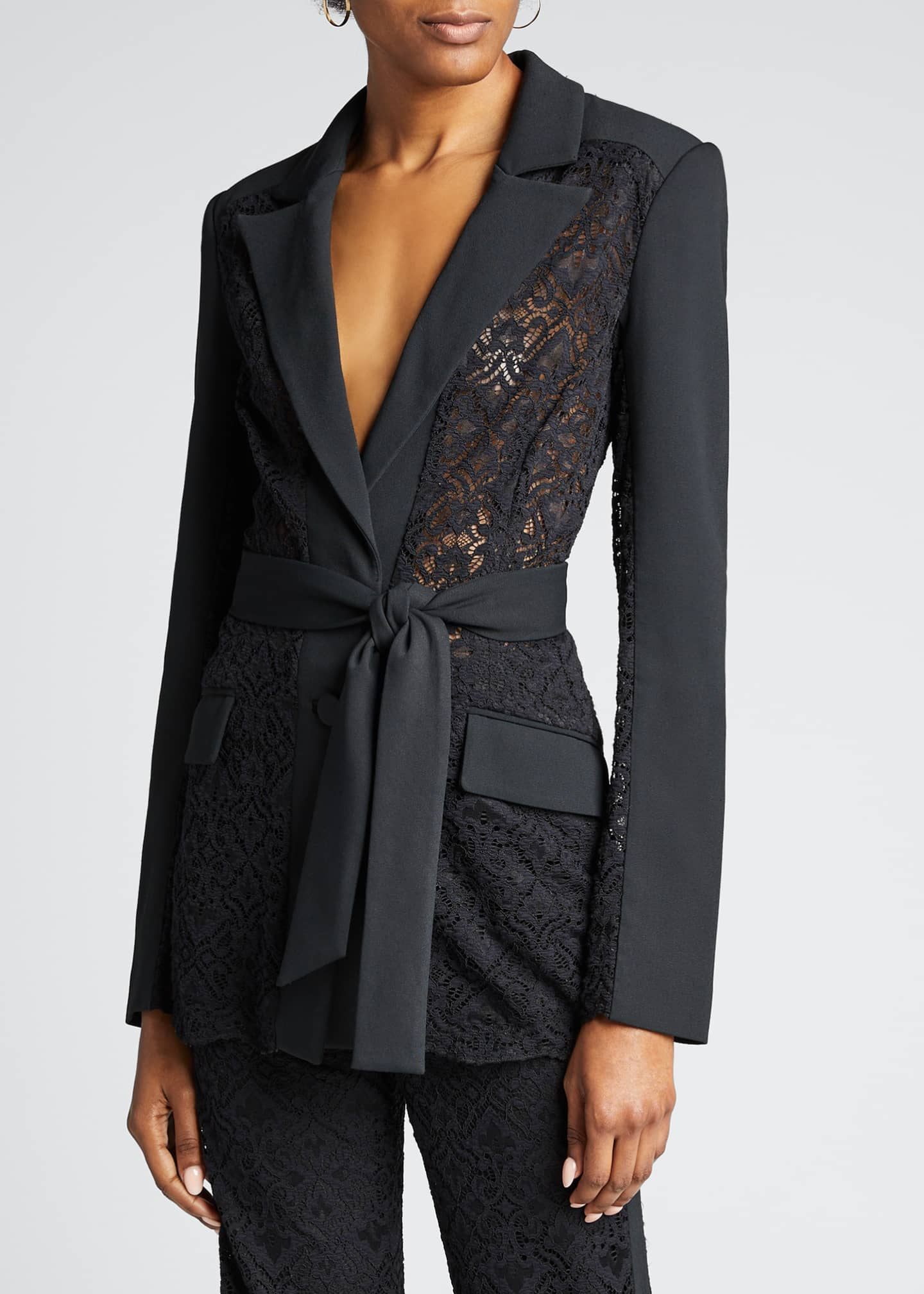 Image 3 of 5: Multimedia Lace Belted Blazer