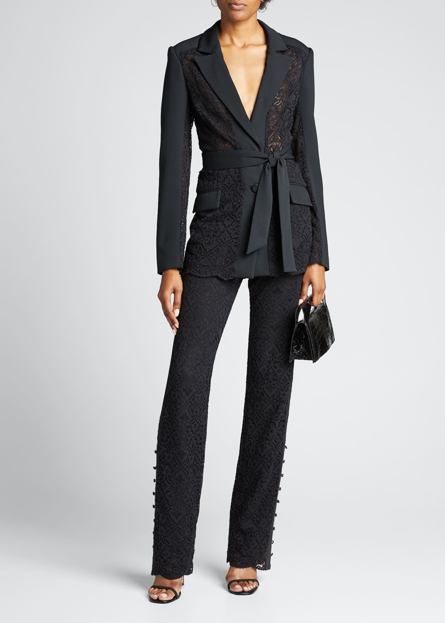Image 1 of 5: Multimedia Lace Belted Blazer