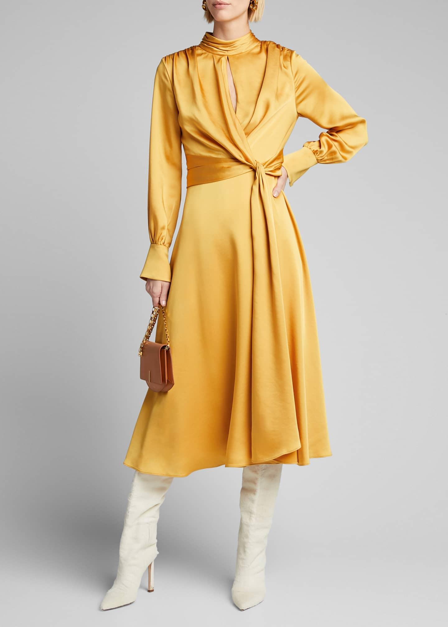 Jonathan Simkhai Fluid Satin Tie-Front Midi Dress