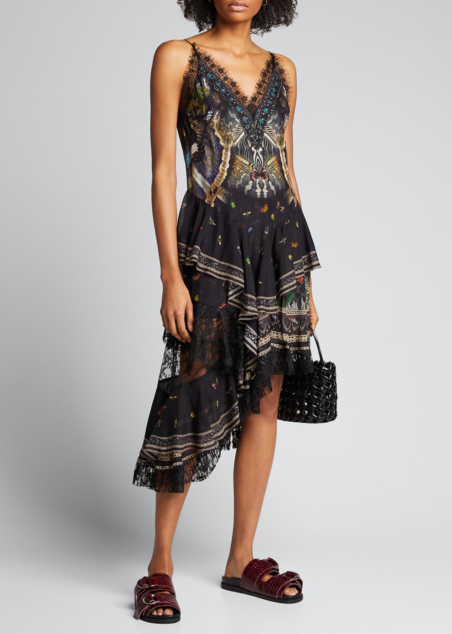 Camilla Layered-Silk Asymmetric Dress