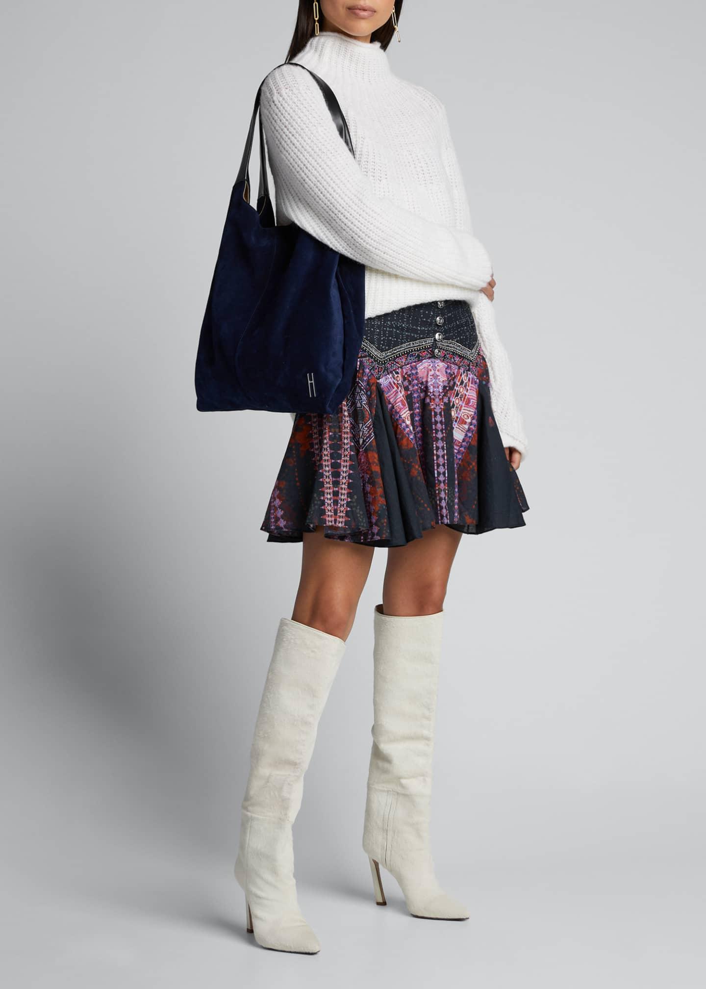 Camilla Printed Godet Mini Skirt with Yoke