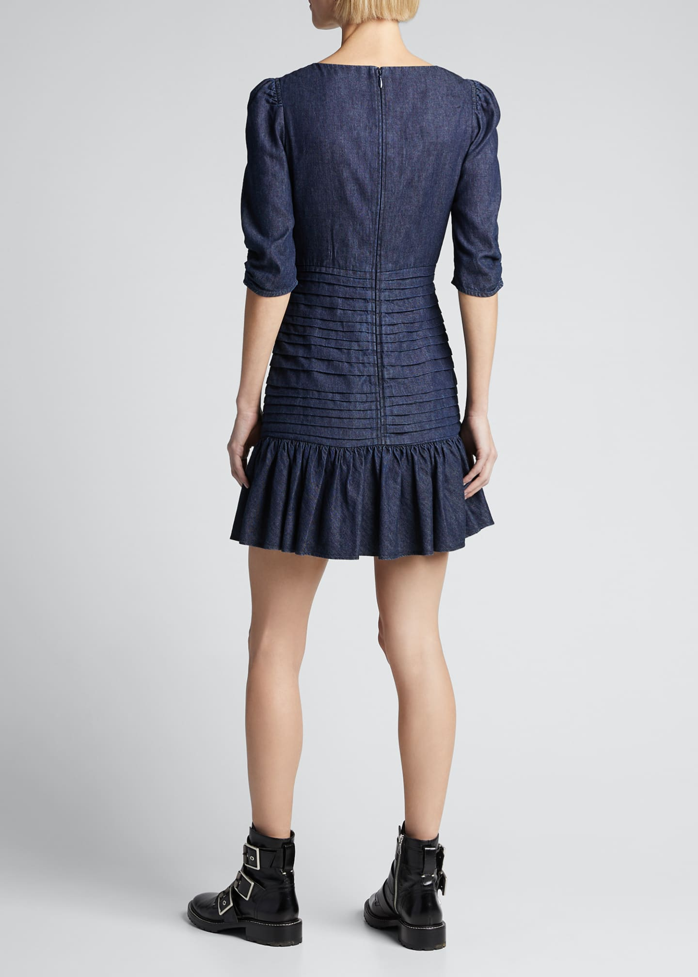 Image 2 of 5: Pansy Ruched Denim Flounce Dress