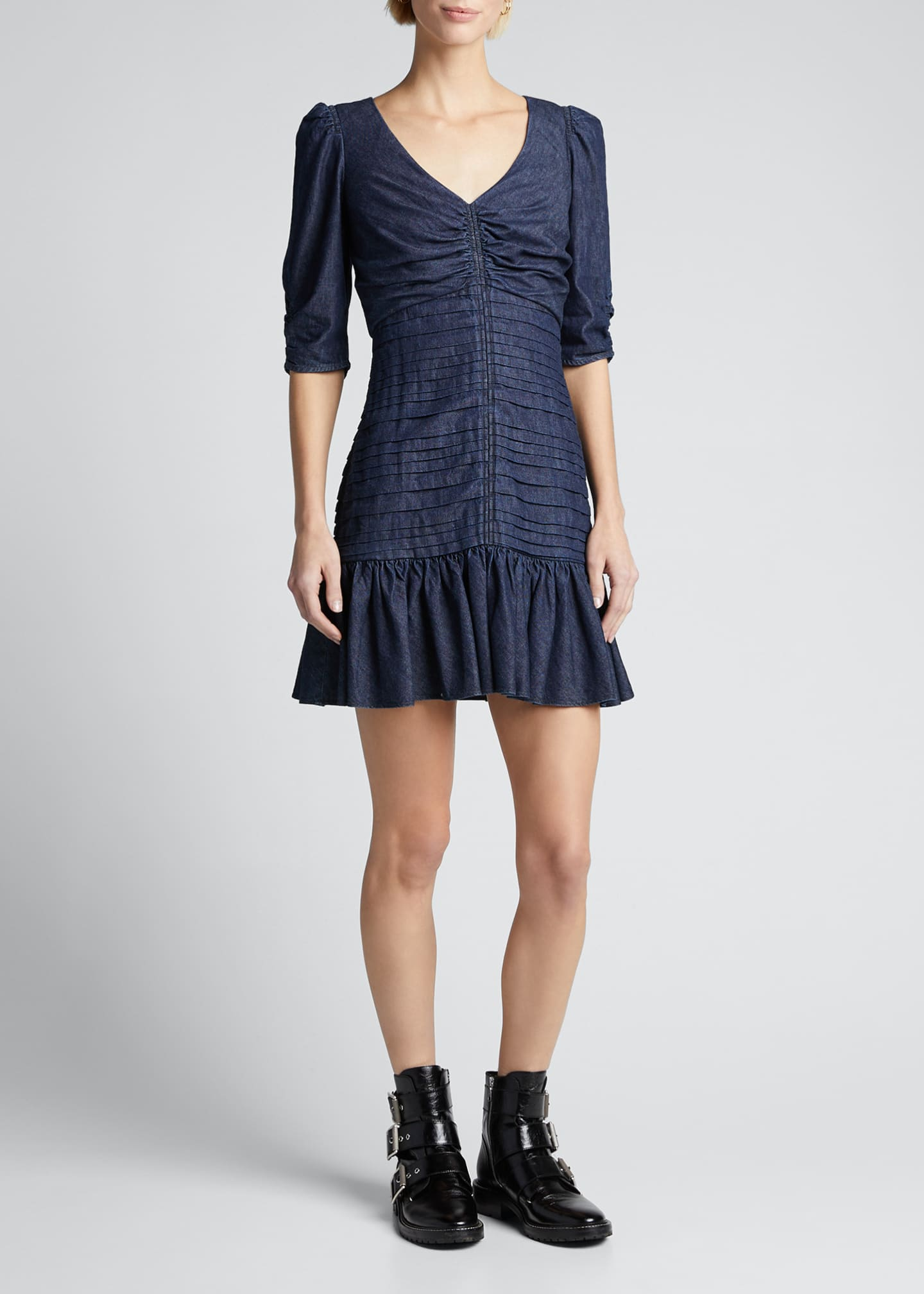 Image 3 of 5: Pansy Ruched Denim Flounce Dress