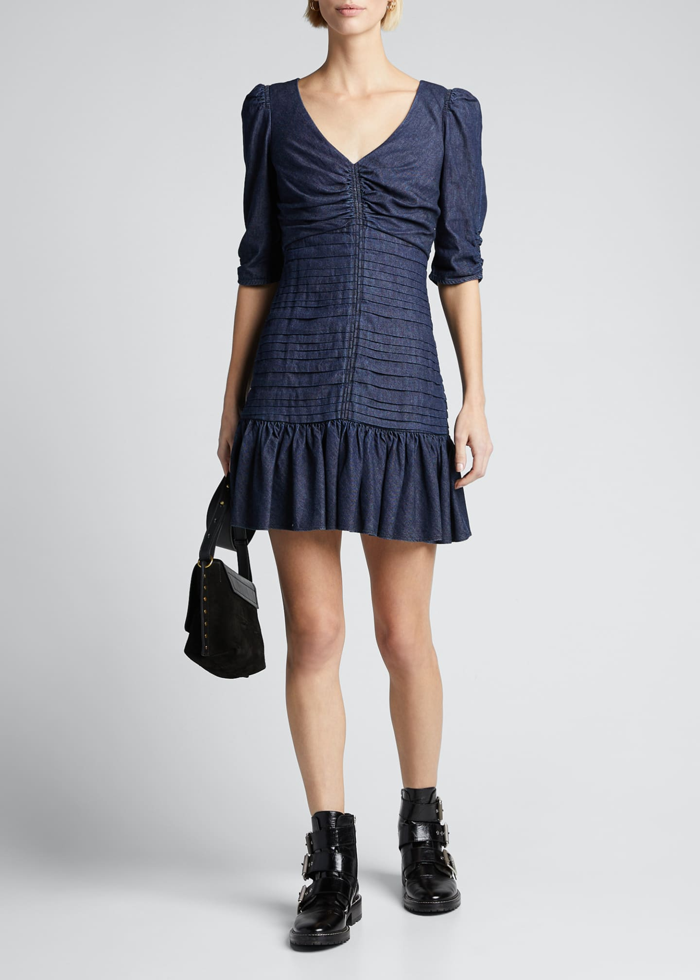 Image 1 of 5: Pansy Ruched Denim Flounce Dress