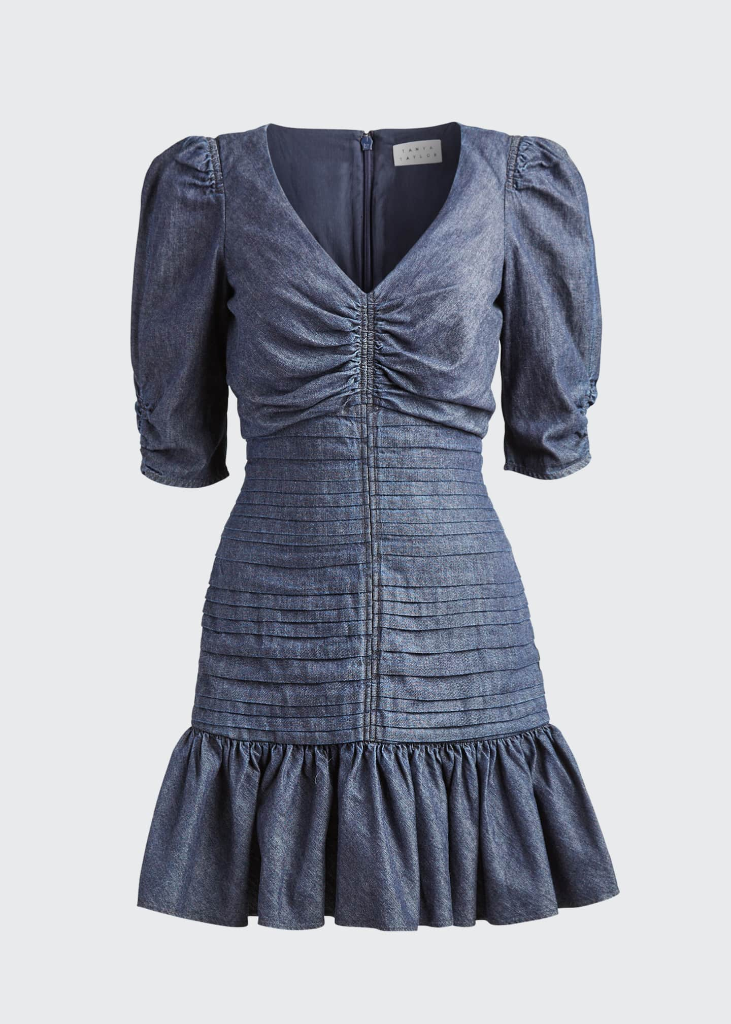 Image 5 of 5: Pansy Ruched Denim Flounce Dress