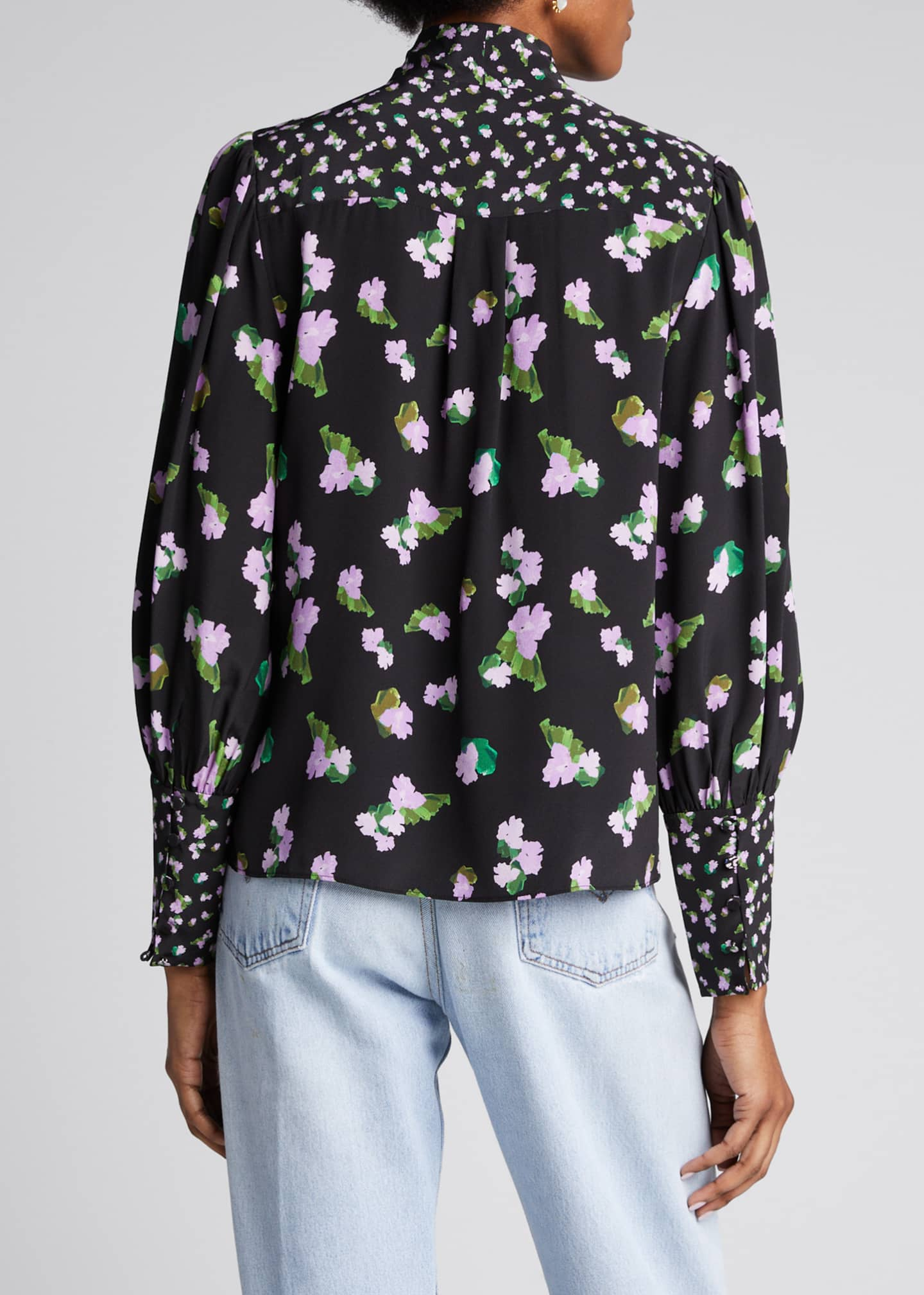 Image 2 of 5: Susan Floral-Print Silk Top with Neck Tie