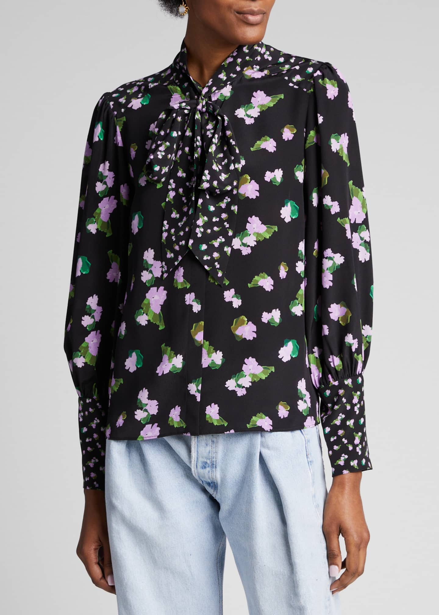 Image 3 of 5: Susan Floral-Print Silk Top with Neck Tie