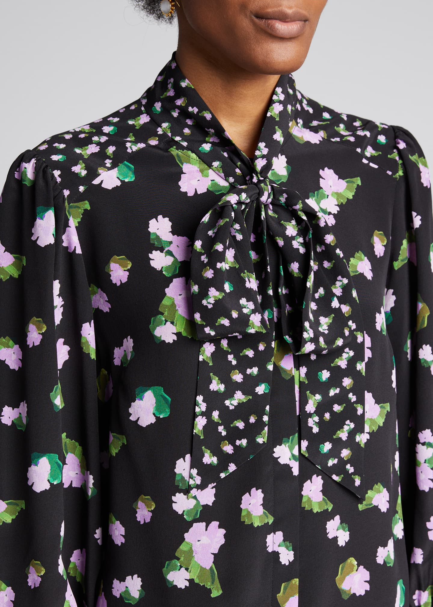 Image 4 of 5: Susan Floral-Print Silk Top with Neck Tie
