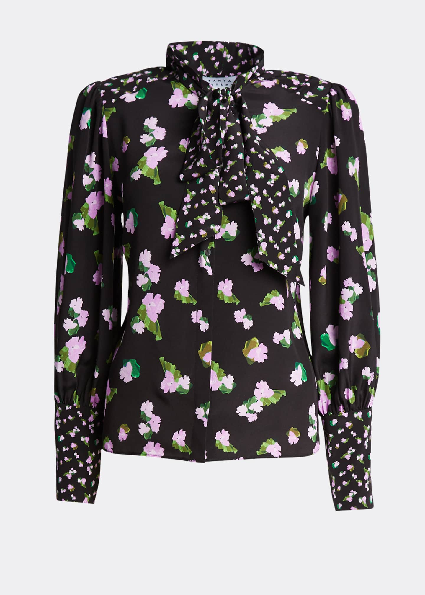 Image 5 of 5: Susan Floral-Print Silk Top with Neck Tie