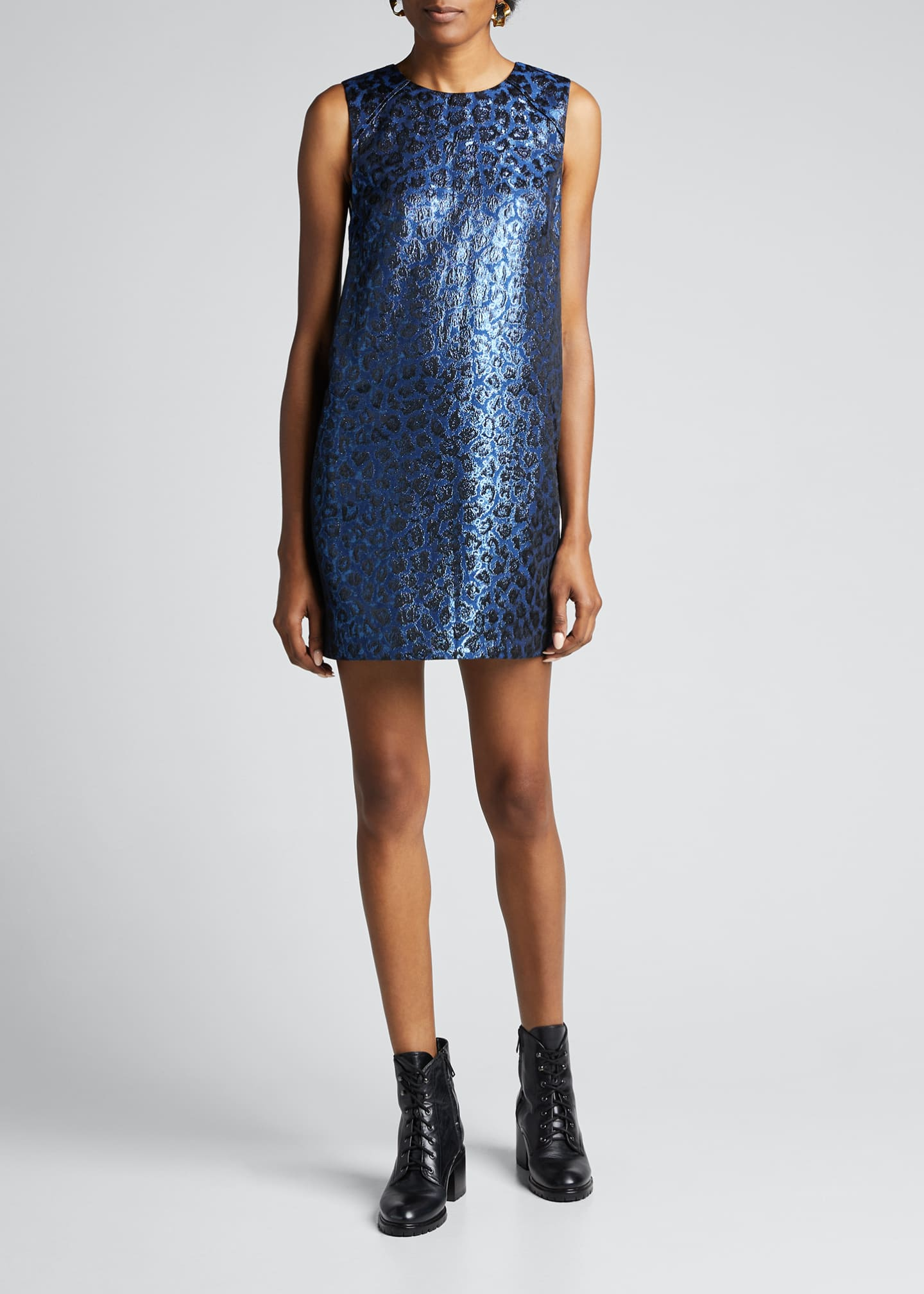 Image 3 of 5: Tracy Metallic Leopard Shift Dress