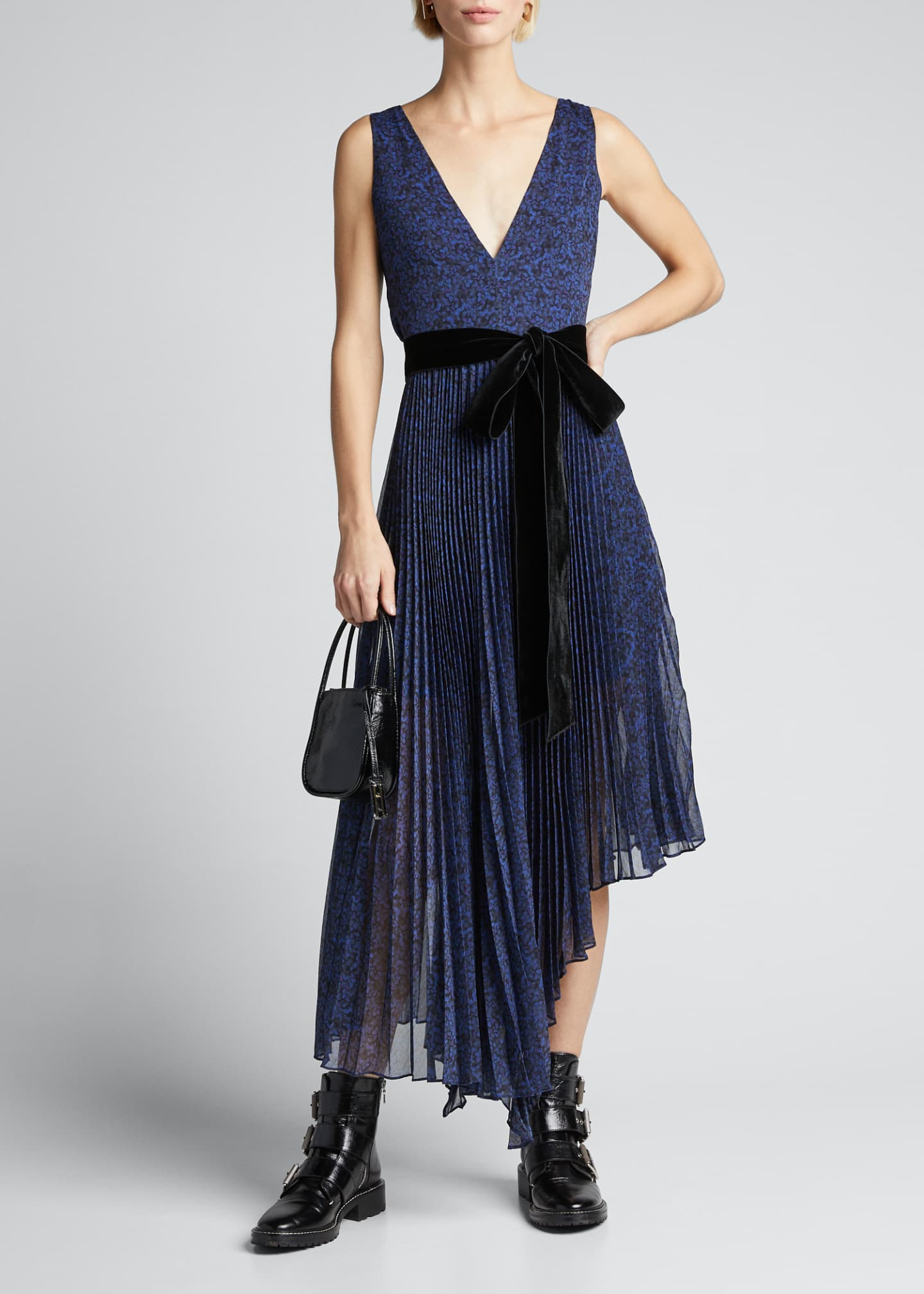 Alice + Olivia Aiden Asymmetric Midi Dress