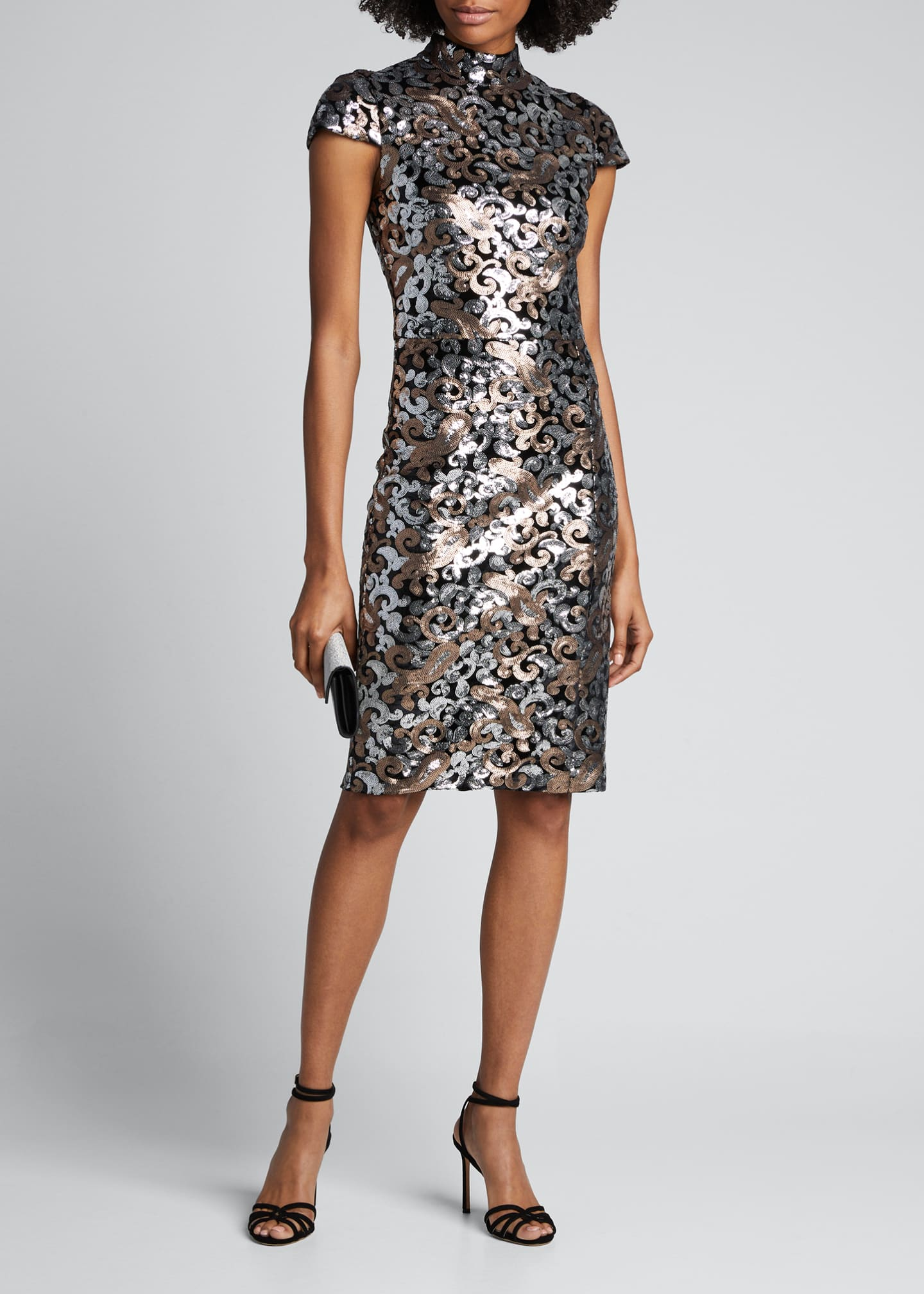 Alice + Olivia Inka Sequined Cap-Sleeve Strong-Shoulder Cocktail