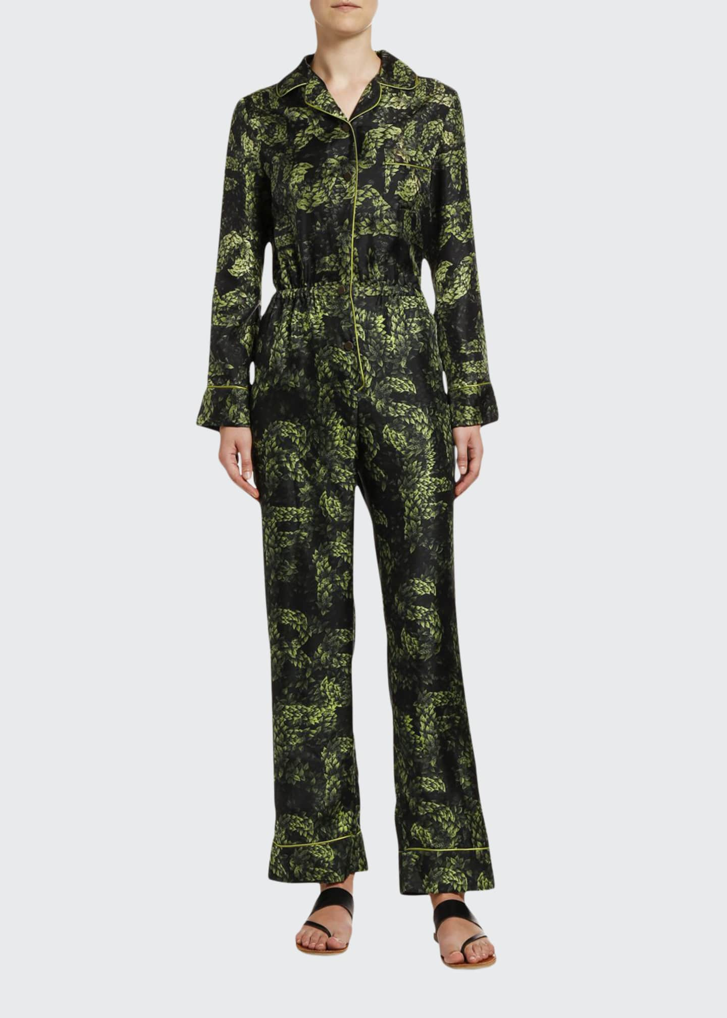 F.R.S For Restless Sleepers Jungle-Print Long-Sleeve Silk