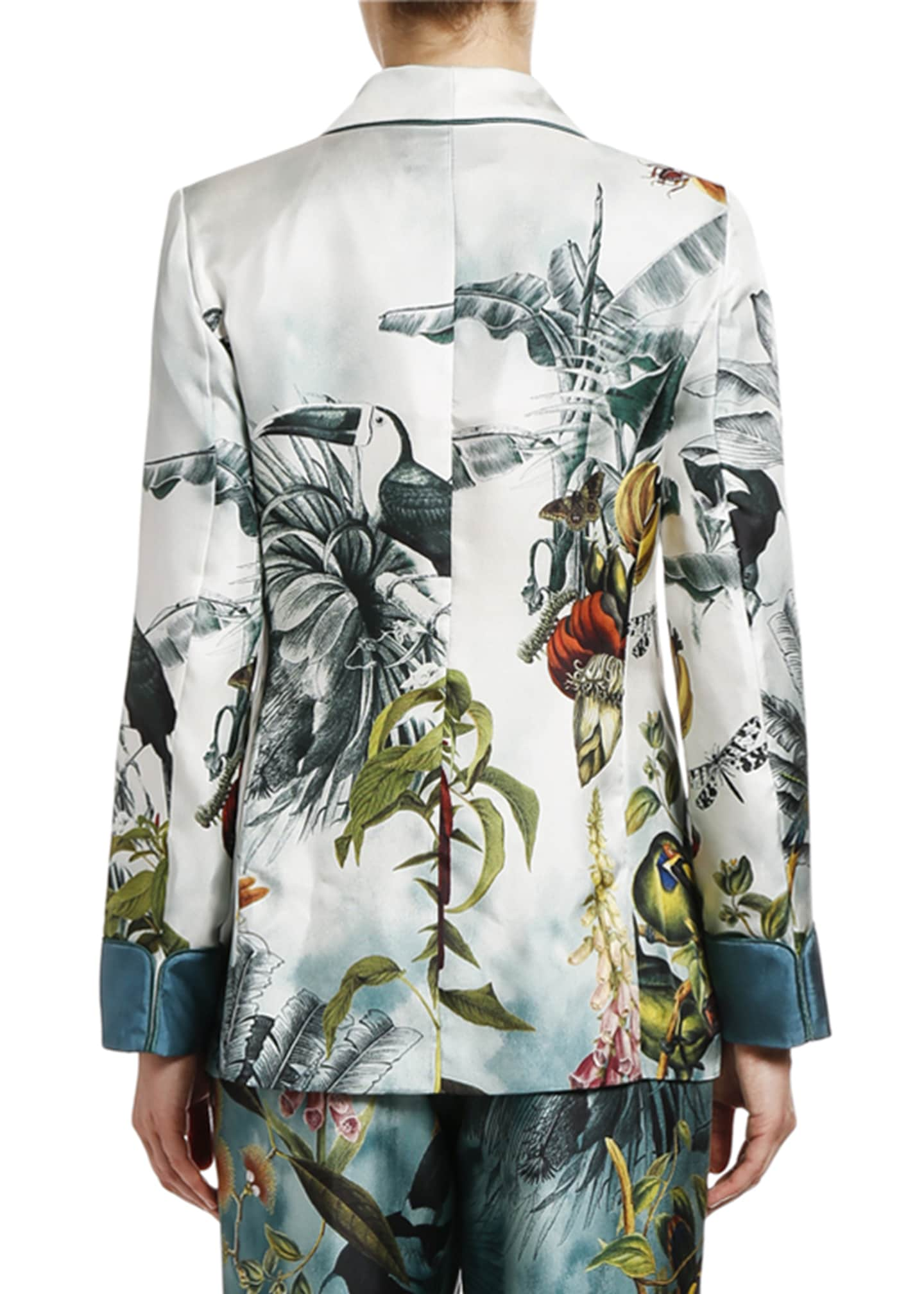 Image 2 of 2: Paradise-Print Fitted Silk Jacket