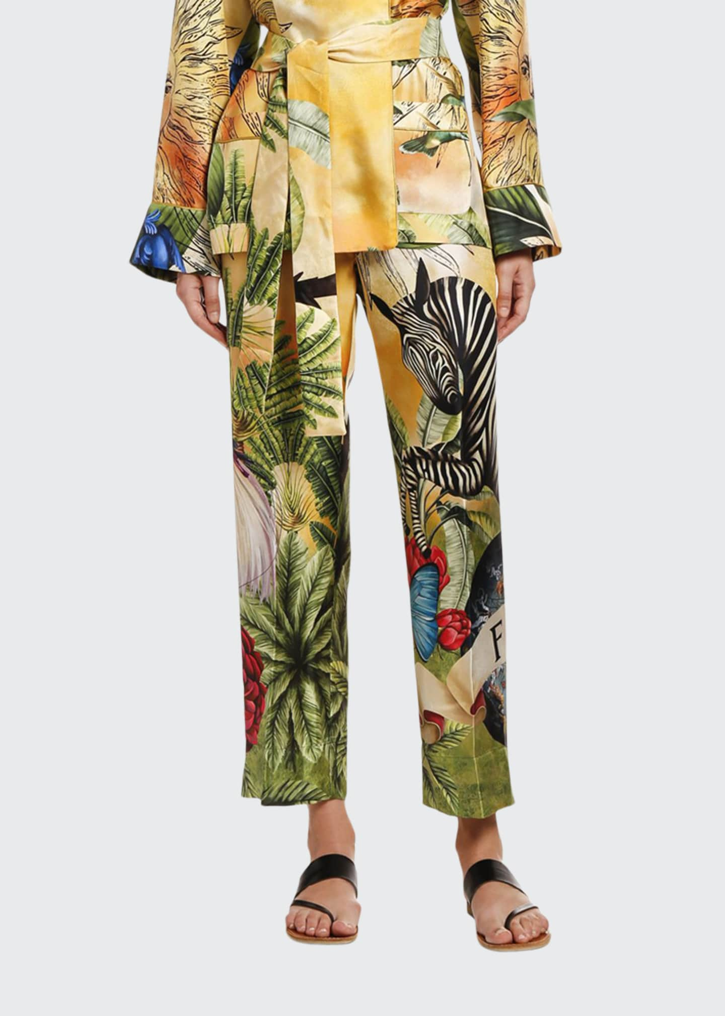 F.R.S For Restless Sleepers Jungle Zebra Silk Trousers