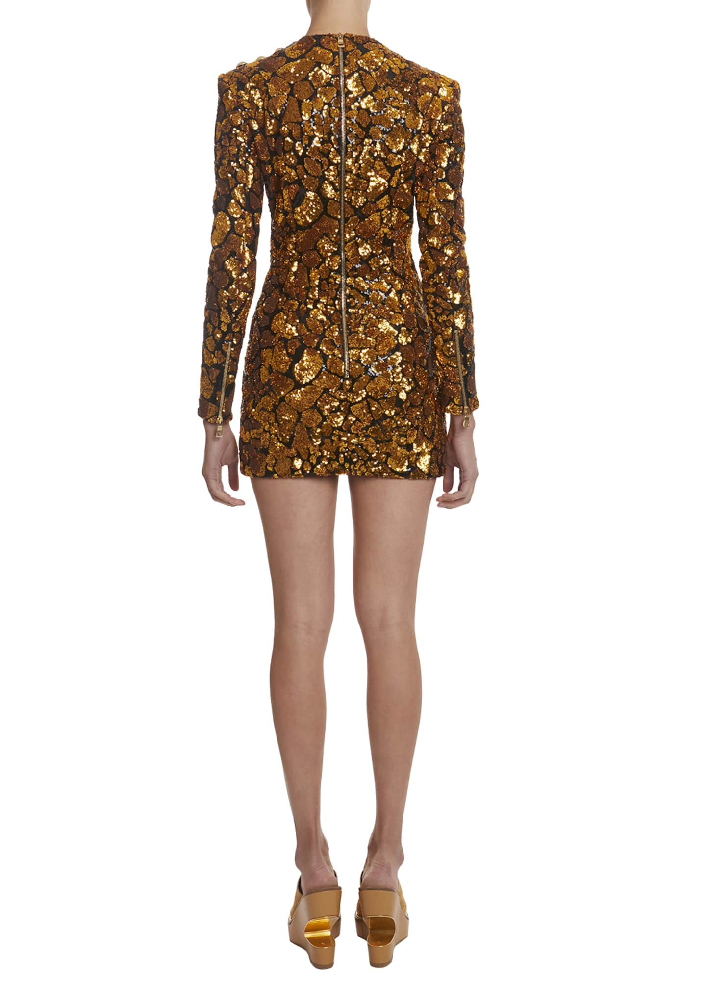 Image 2 of 2: Sequined Giraffe-Patterned Mini Dress