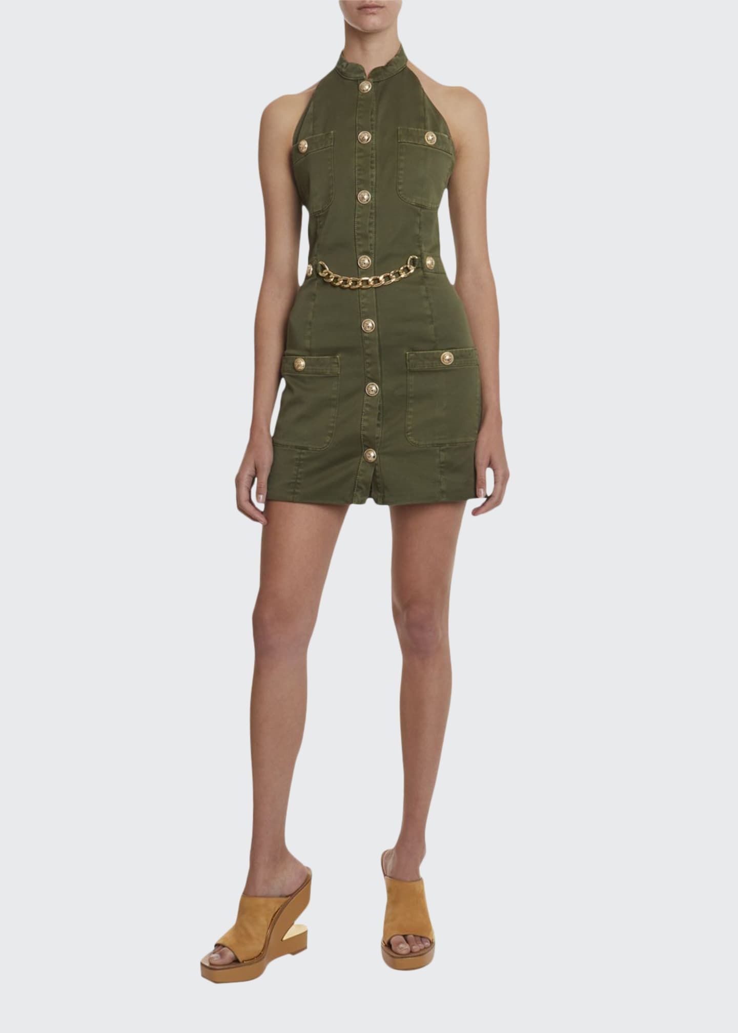 Balmain Golden-Chain Military Halter Dress