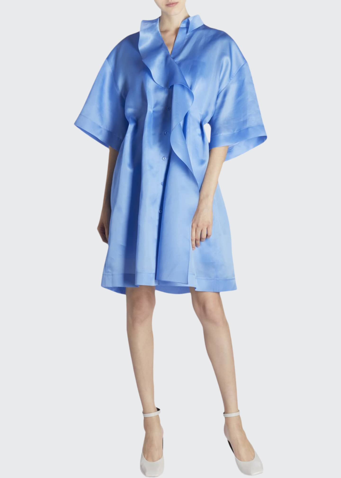 Nina Ricci Ruffled-Silk Oversized Shirtdress