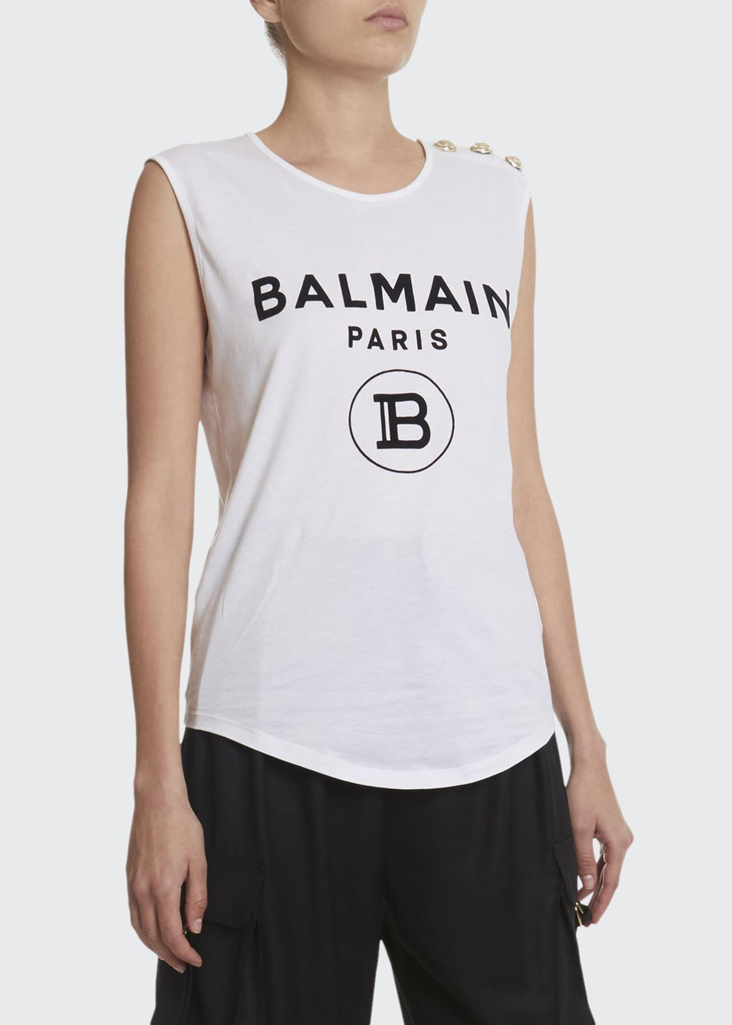 Balmain Sleeveless Flocked Logo Top