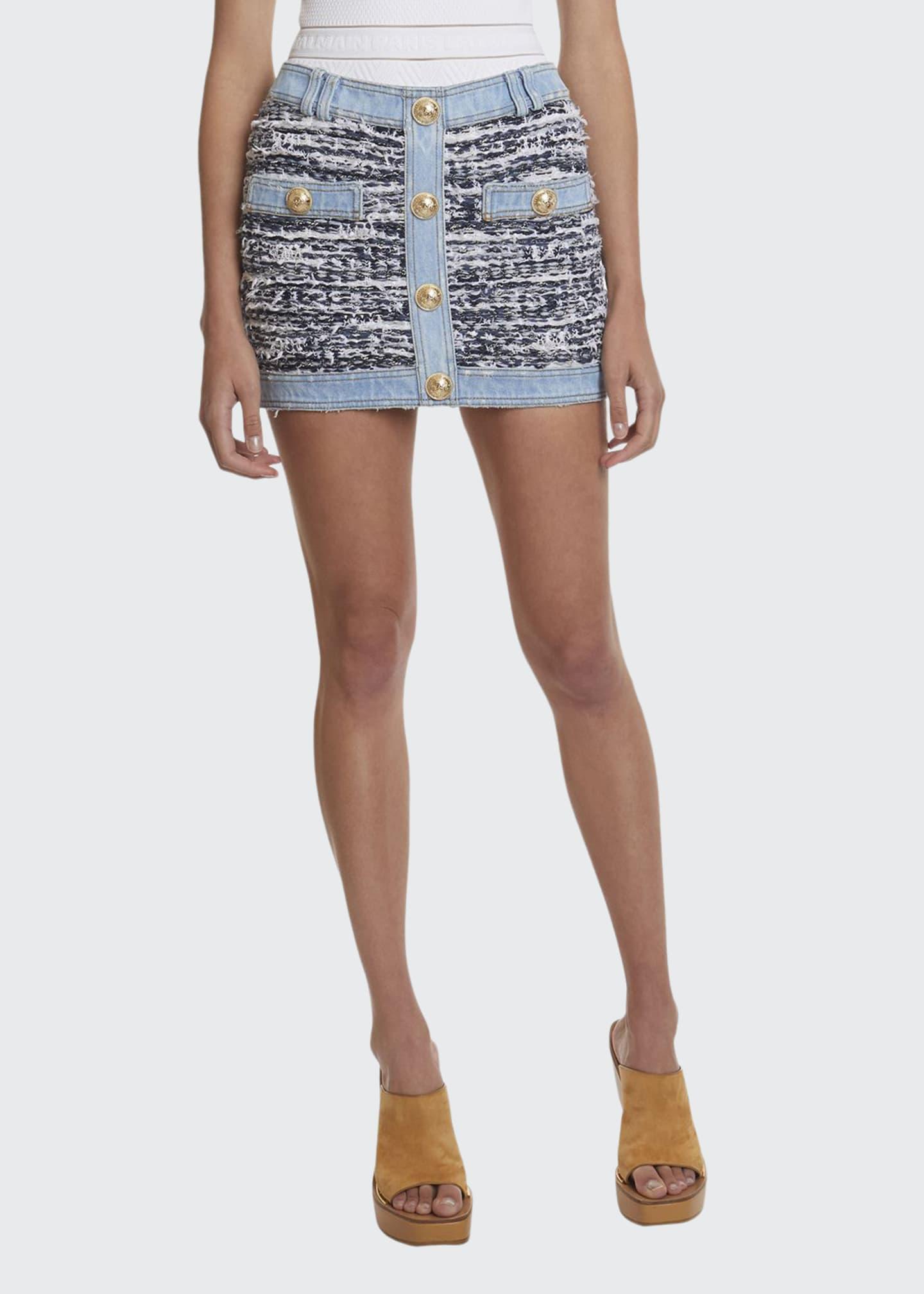 Balmain Low-Rise Tweed Denim Skirt