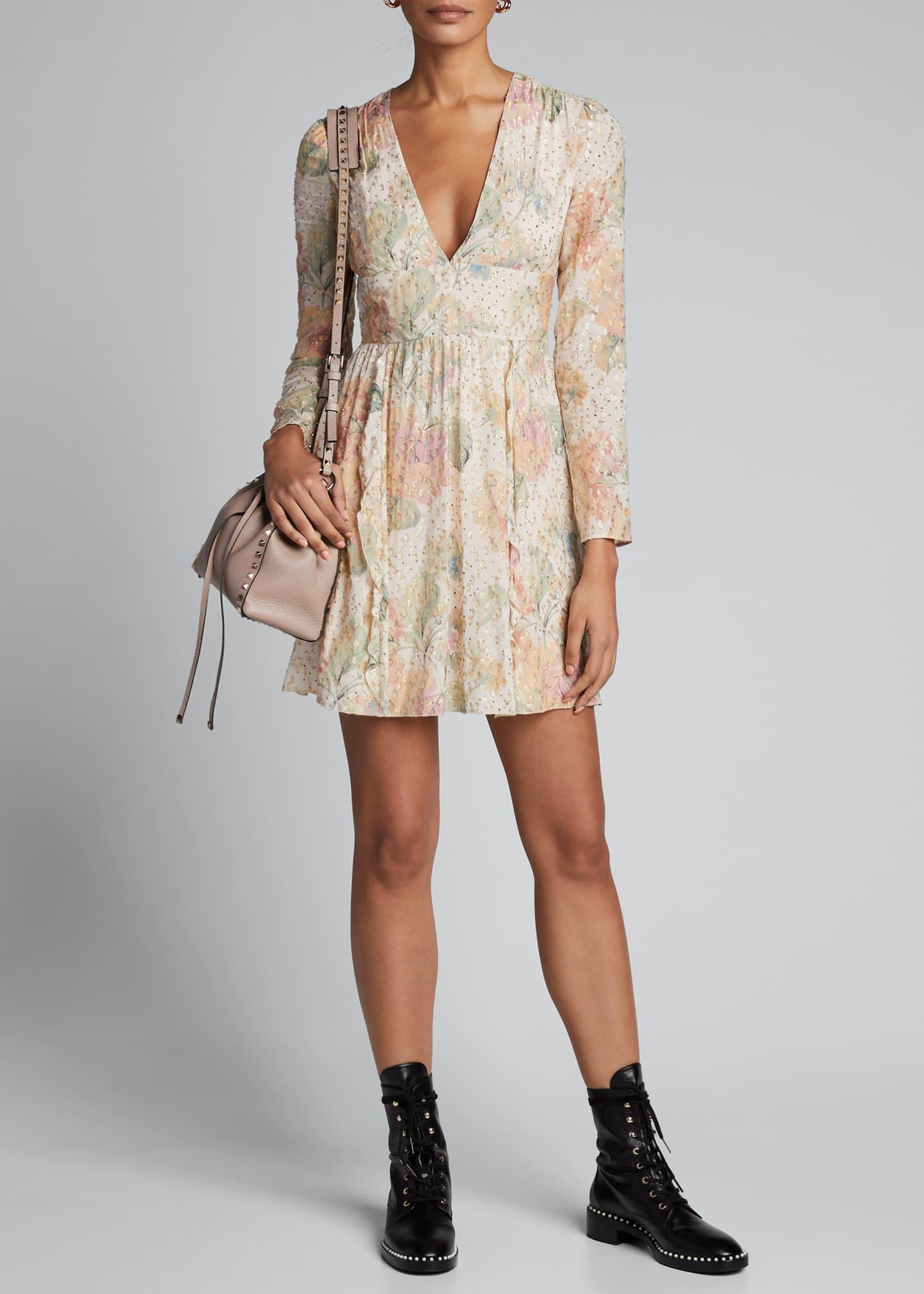 REDValentino Floral Evanescent V-Neck Long-Sleeve Mini Dress