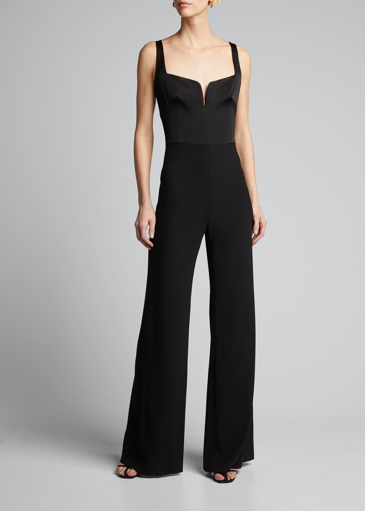 Image 3 of 4: Sleeveless Wide-Leg Corset Jumpsuit