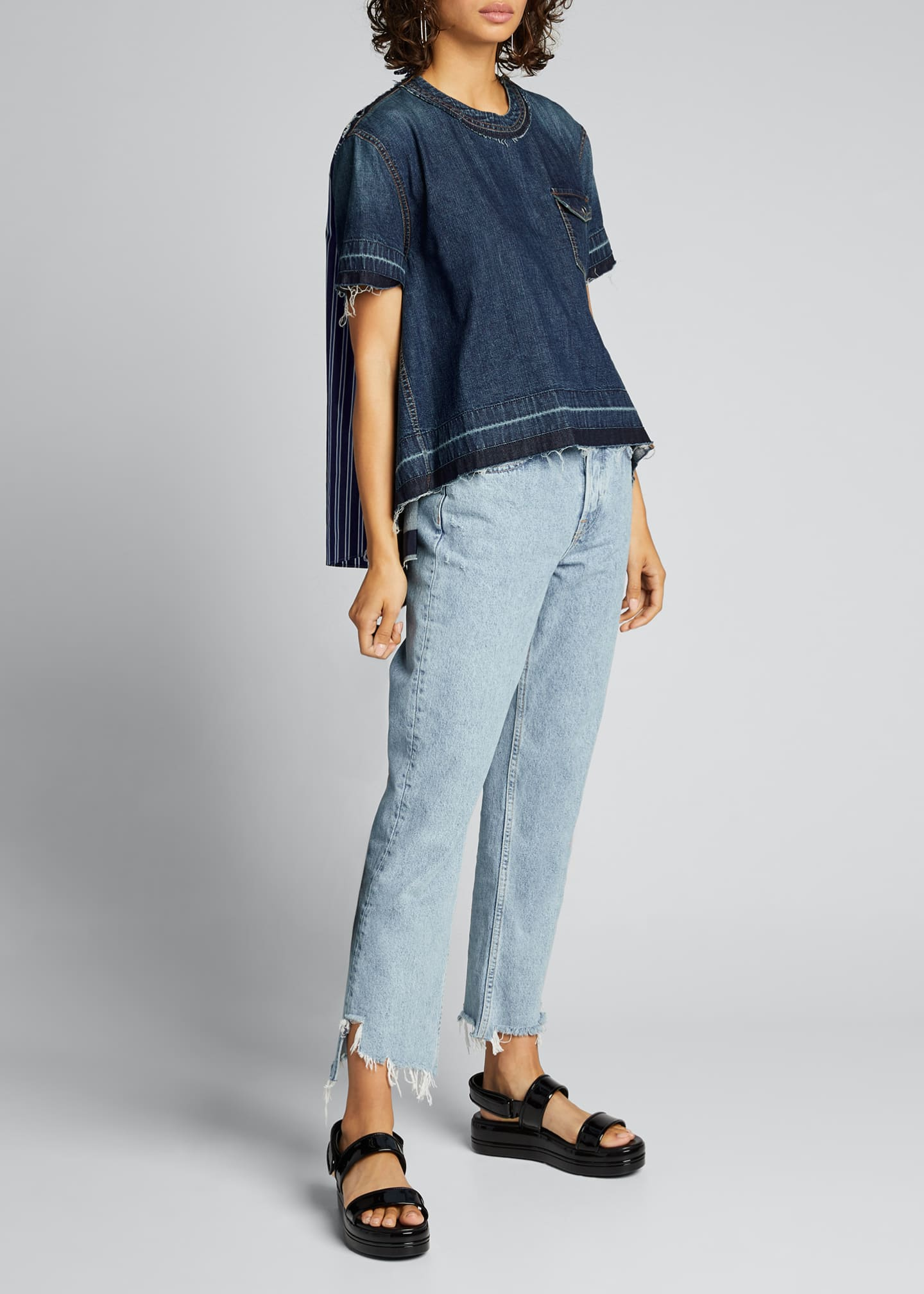 SACAI Denim-Front Handkerchief Hem Shirt