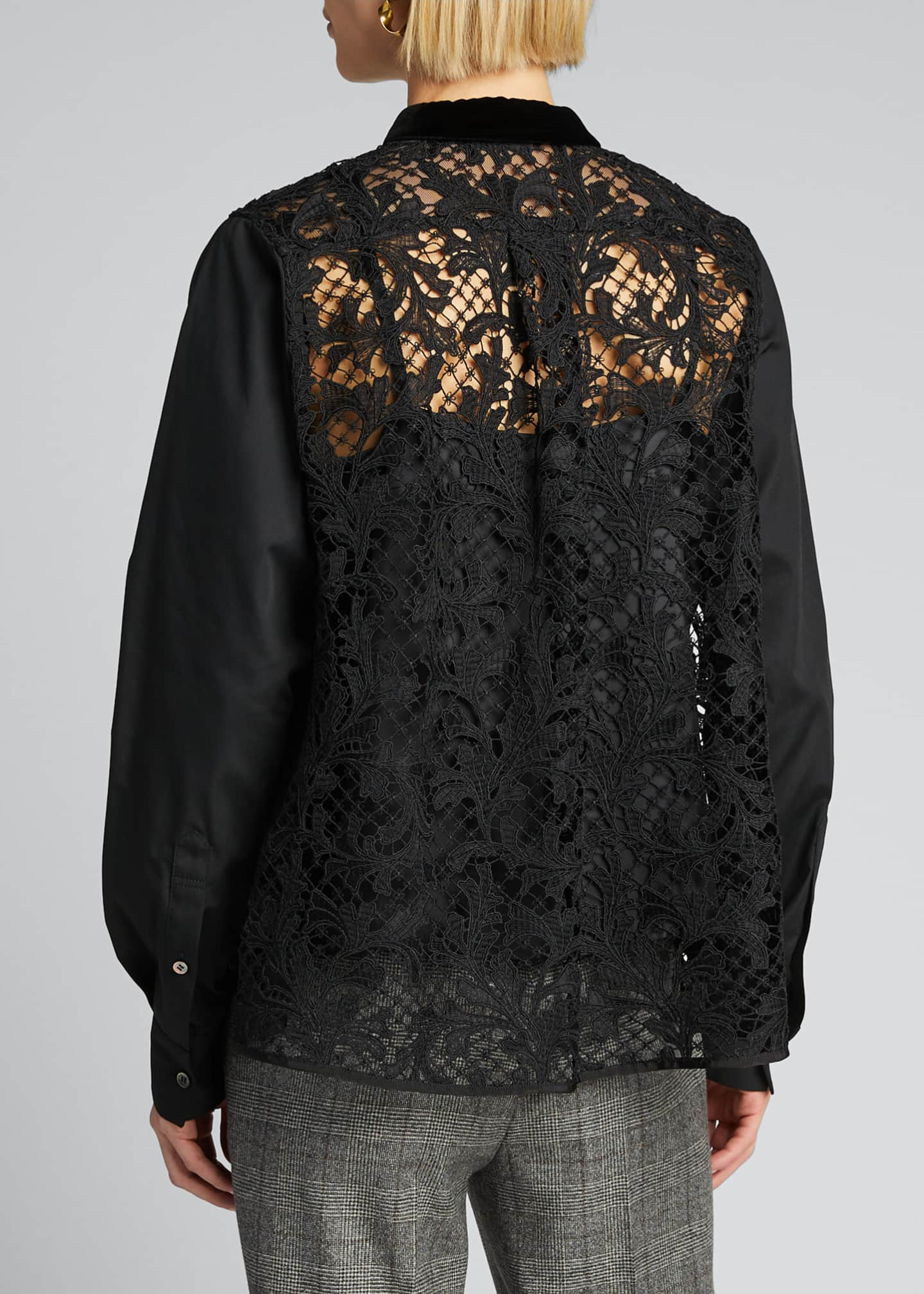 Image 2 of 5: Lace-Back Shirt with Velvet Collar