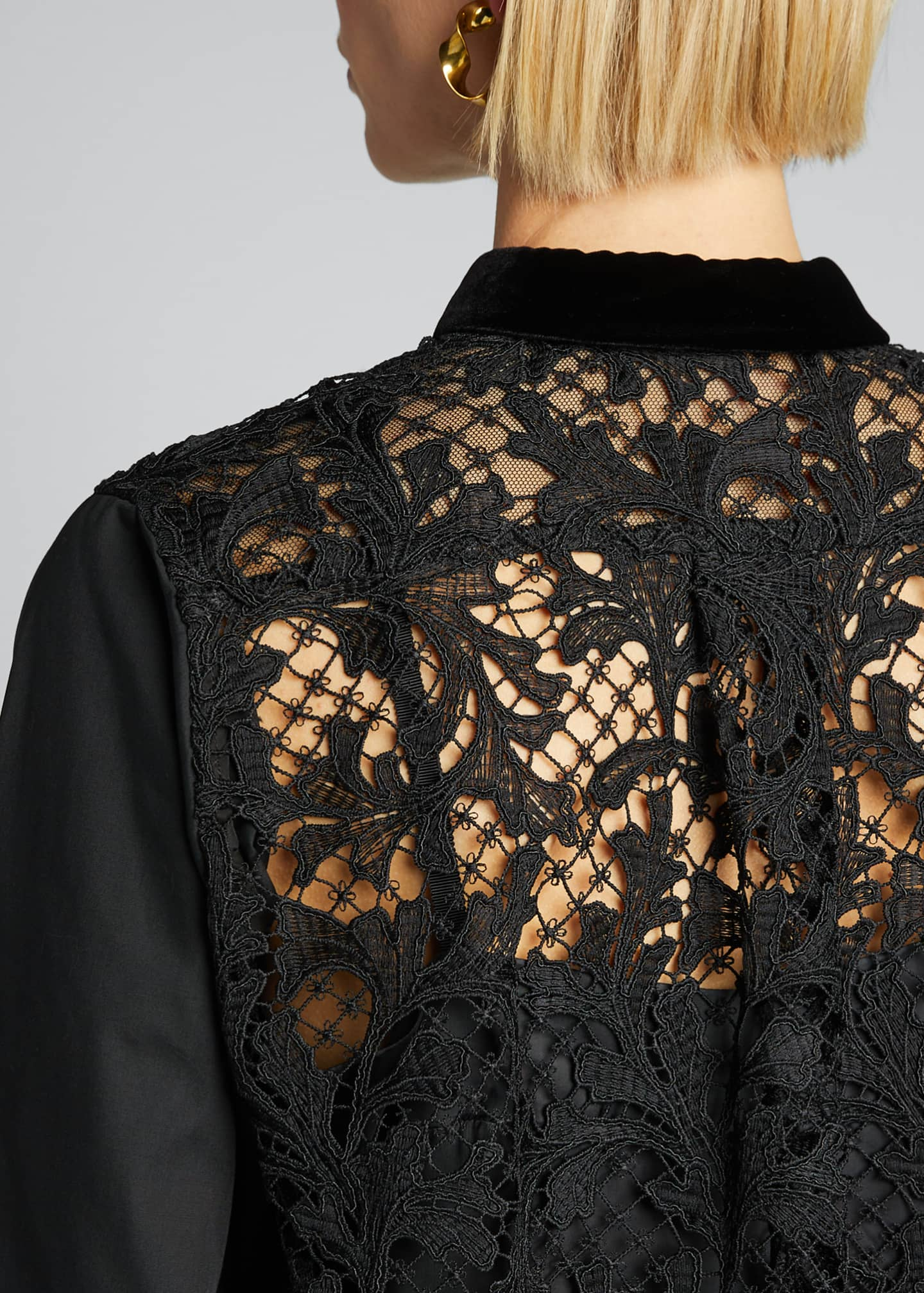 Image 4 of 5: Lace-Back Shirt with Velvet Collar