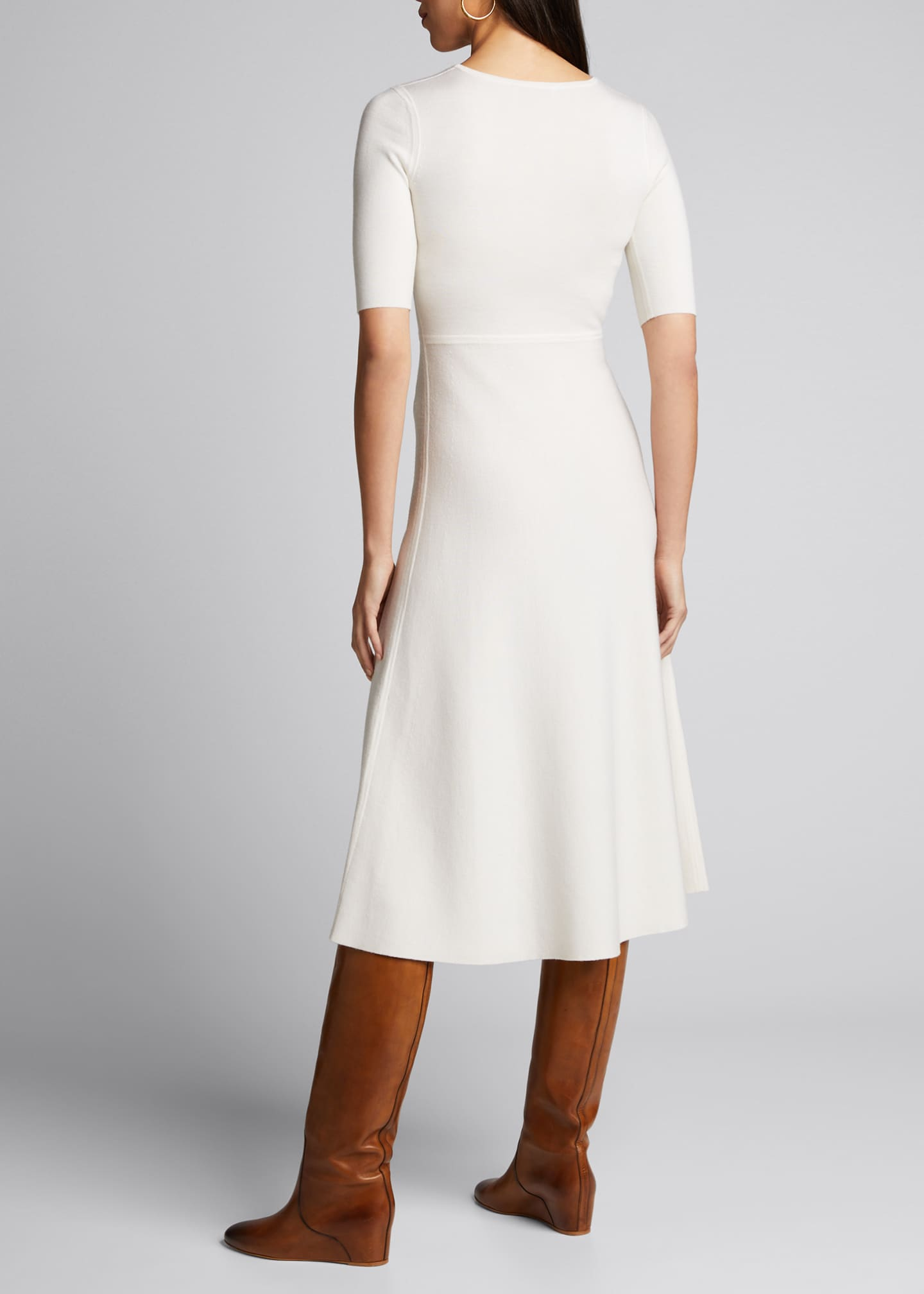 Image 2 of 5: Seymore Wool-Cashmere 1/2-Sleeve Dress