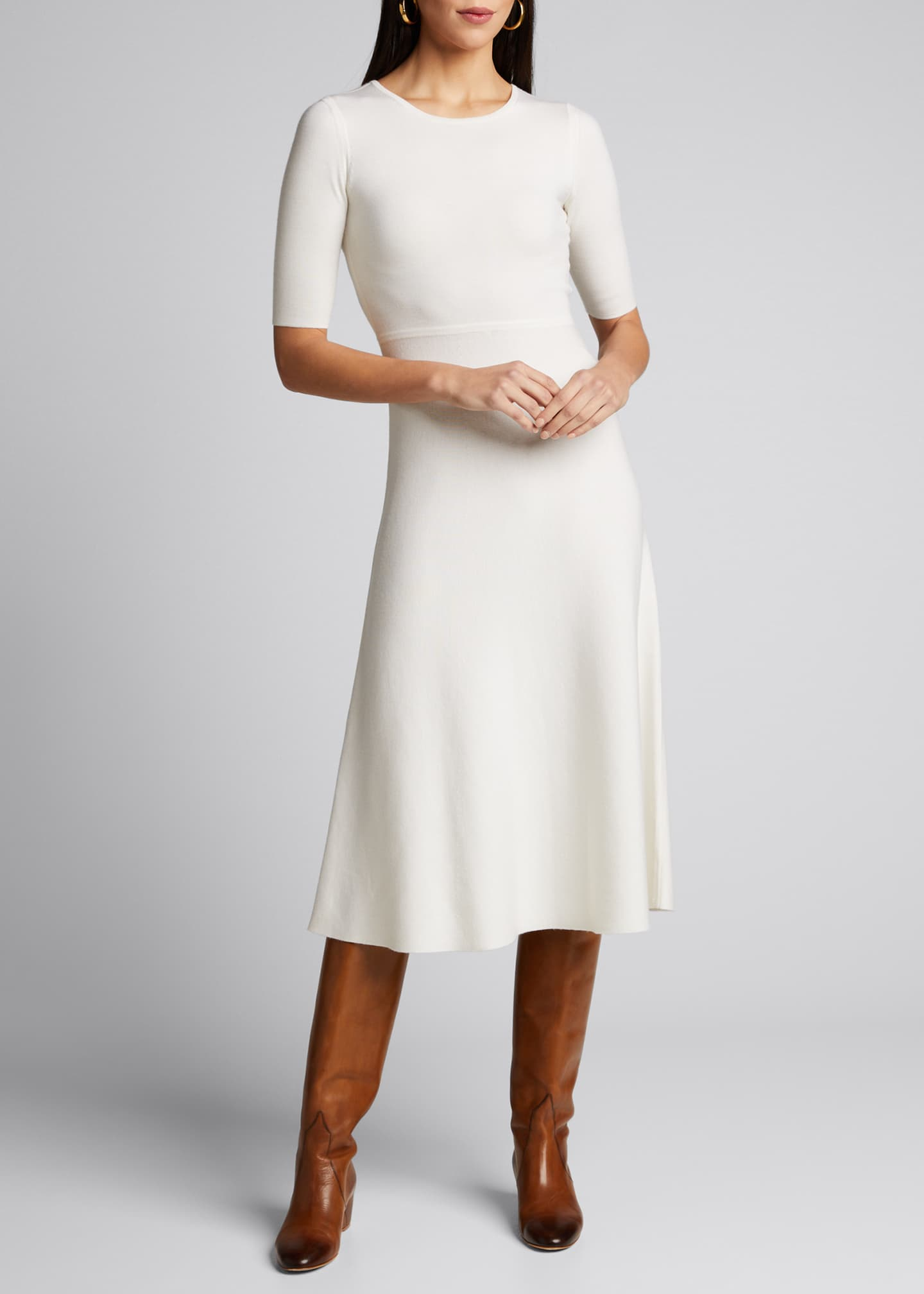 Image 3 of 5: Seymore Wool-Cashmere 1/2-Sleeve Dress