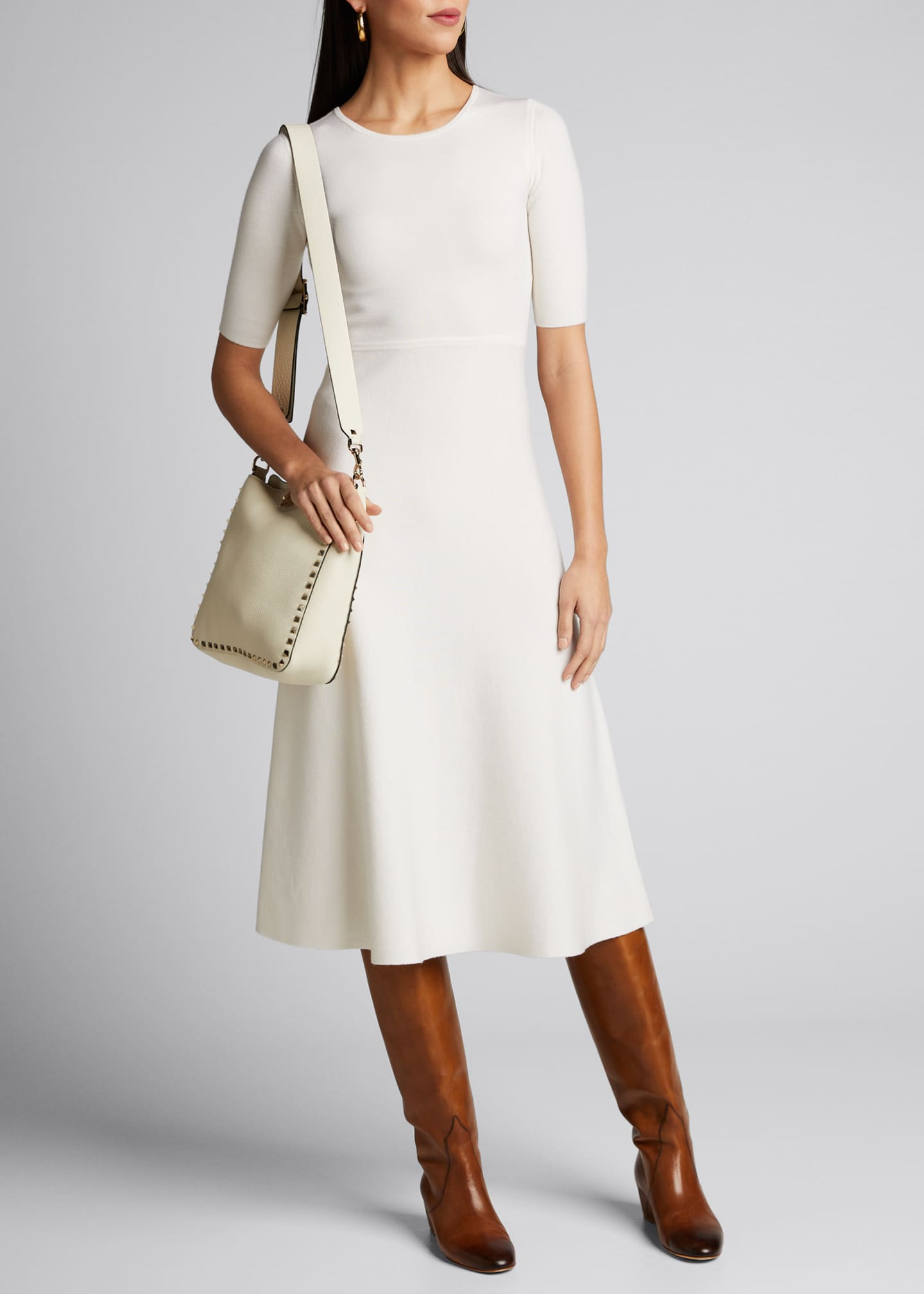 Image 1 of 5: Seymore Wool-Cashmere 1/2-Sleeve Dress
