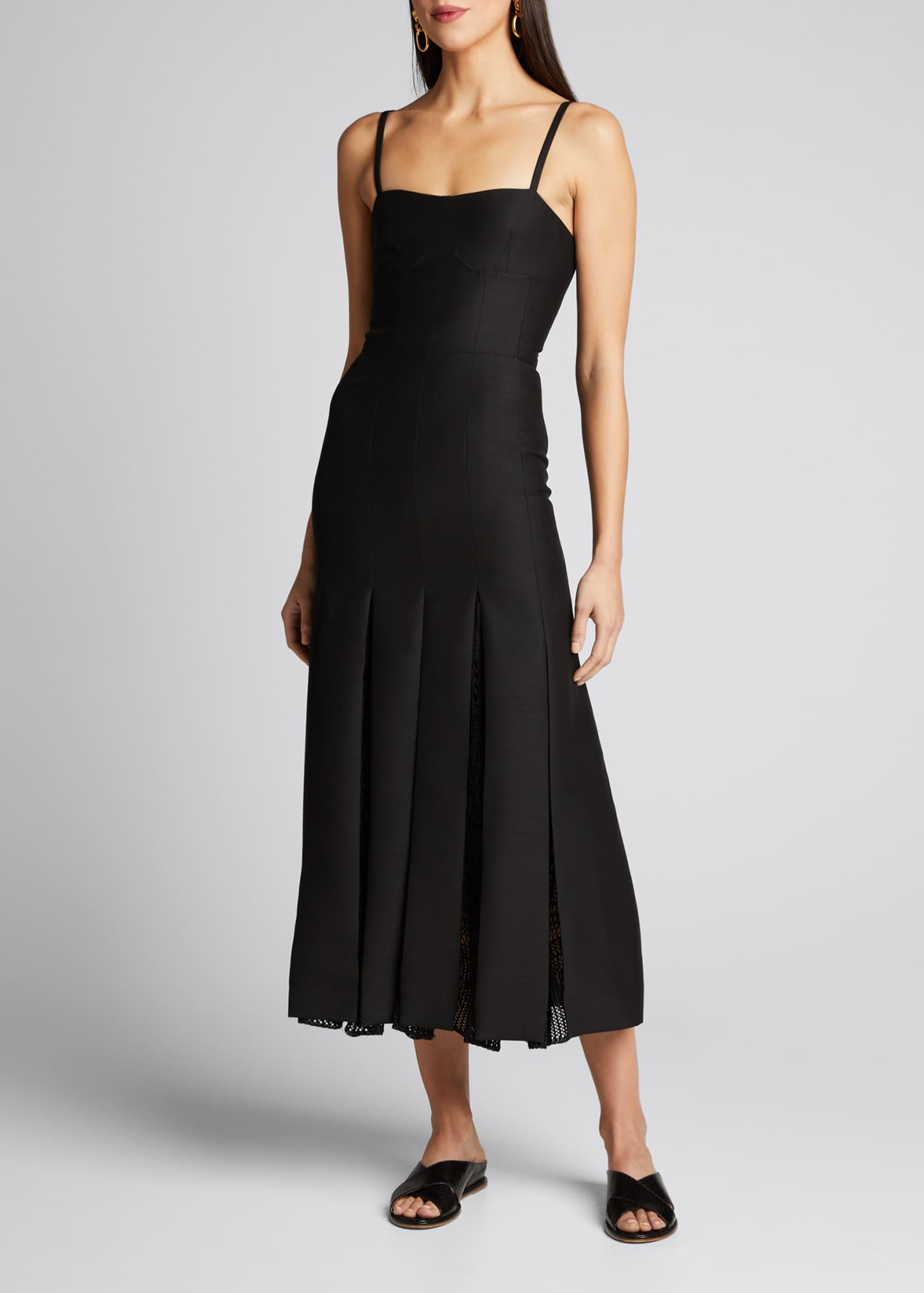 Gabriela Hearst Godard Pleated Mesh-Panel Midi Dress