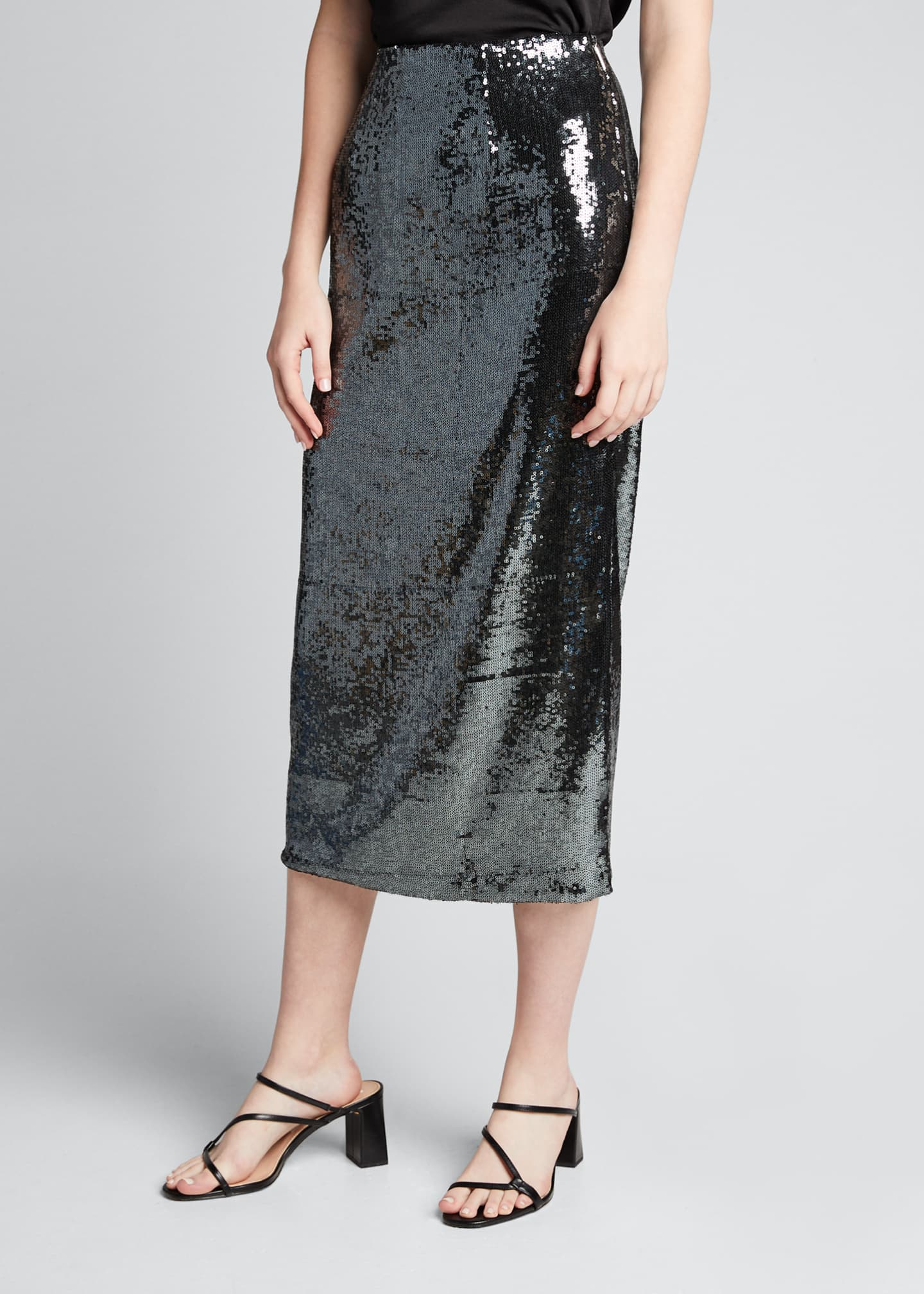 Image 3 of 5: Sequined Pencil Midi Skirt