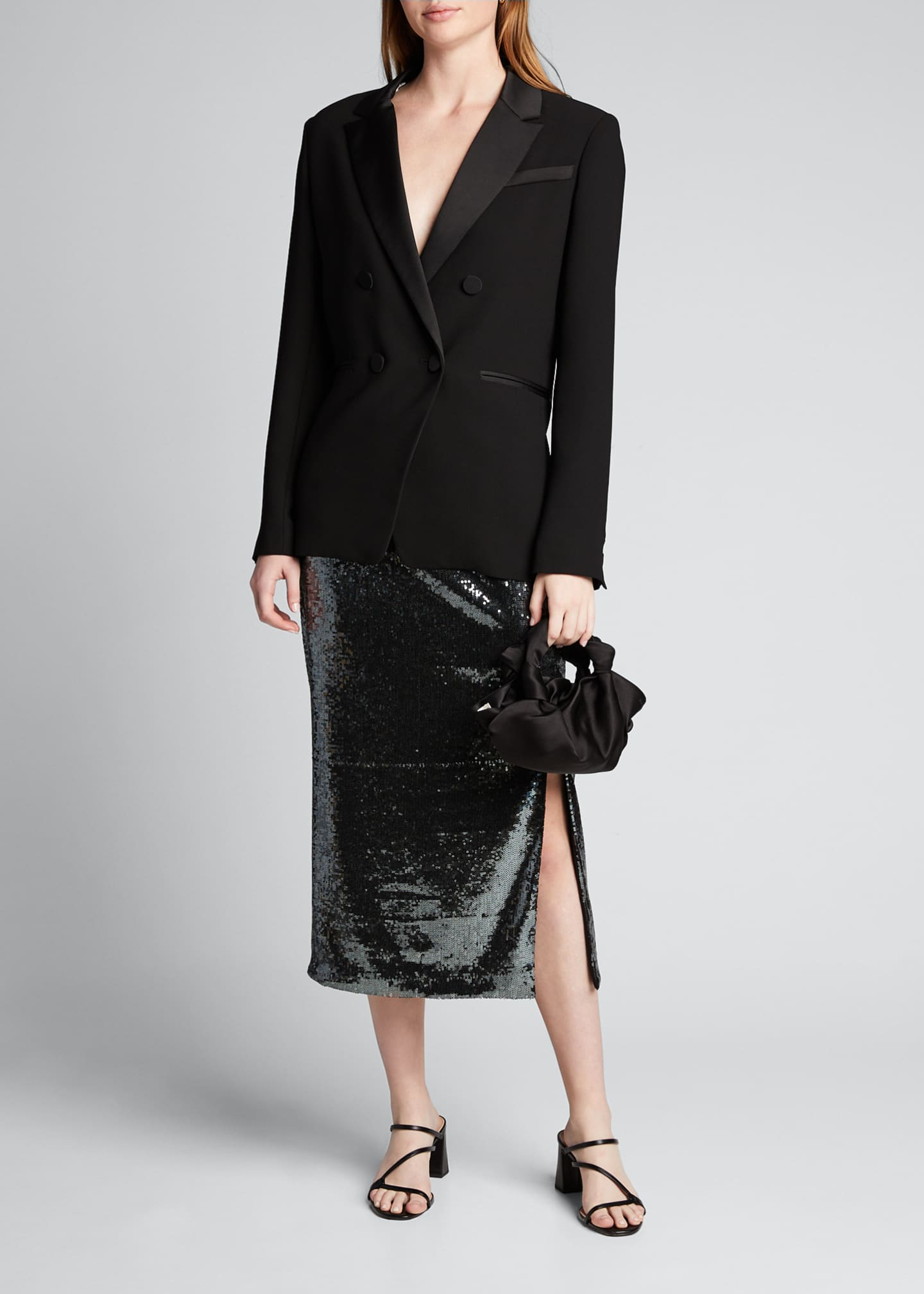 Image 1 of 5: Sequined Pencil Midi Skirt