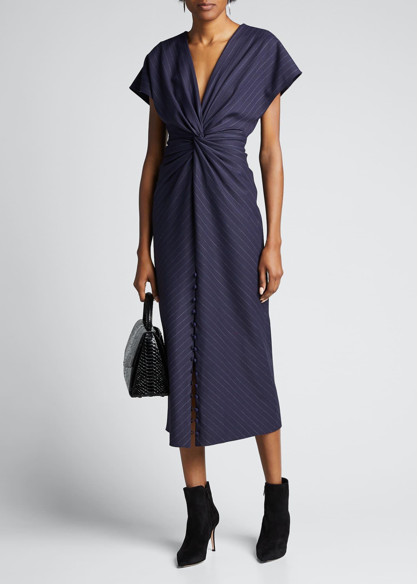 Prabal Gurung Pinstriped V-Neck Cocktail Dress