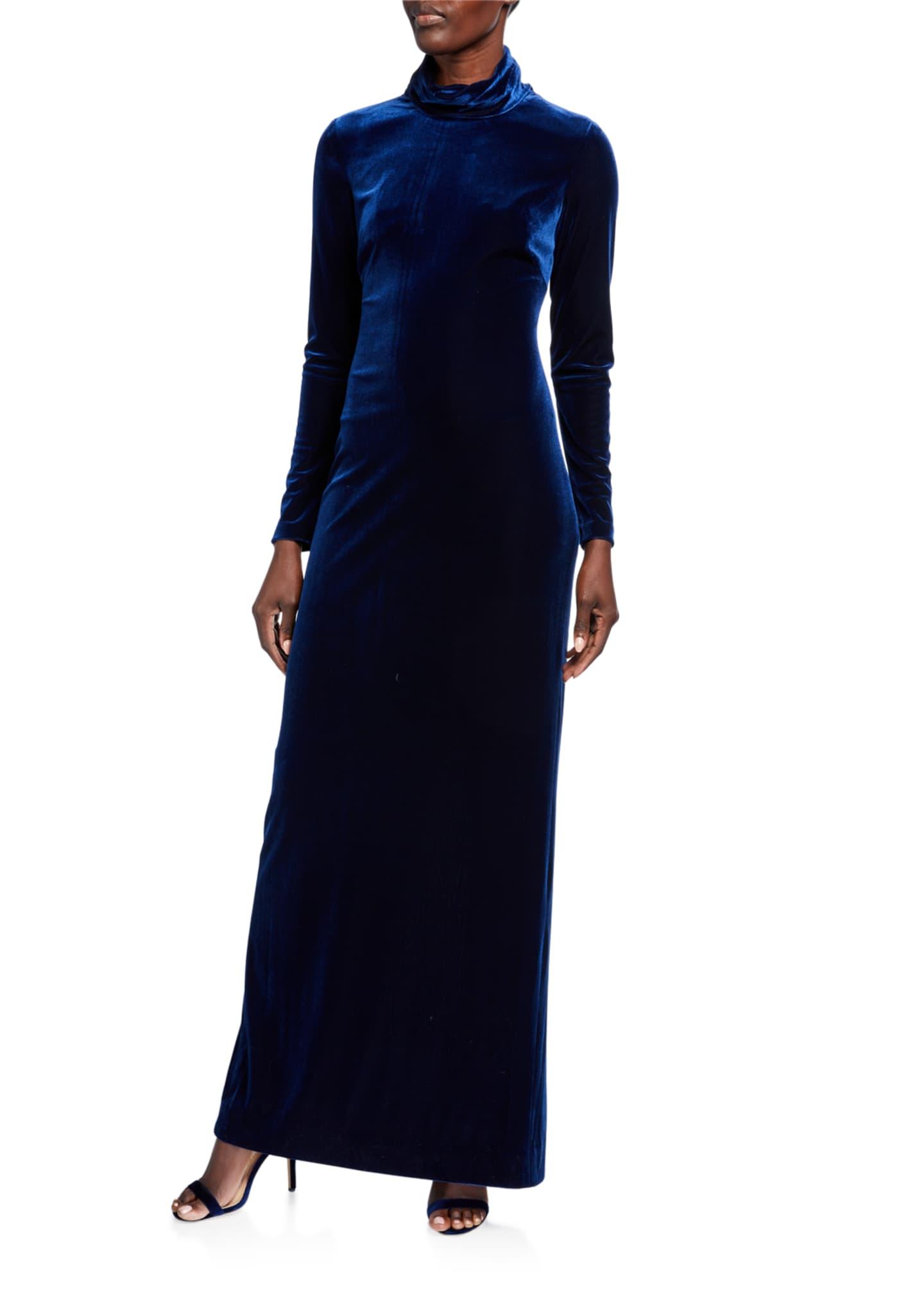Badgley Mischka Collection Mock Neck Long Sleeve Velvet