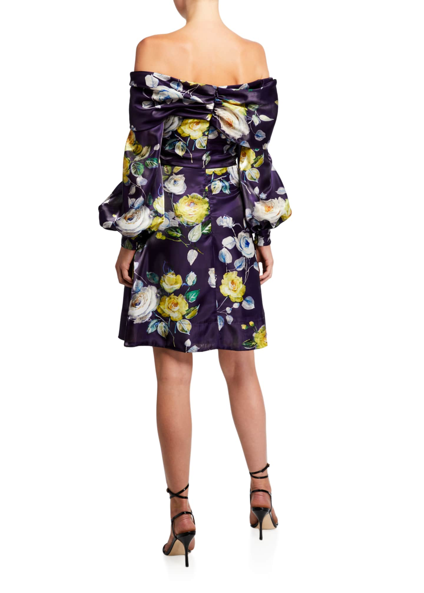 Image 2 of 2: Abba Neon Floral Off-the-Shoulder Bishop-Sleeve Liquid Organza Dress