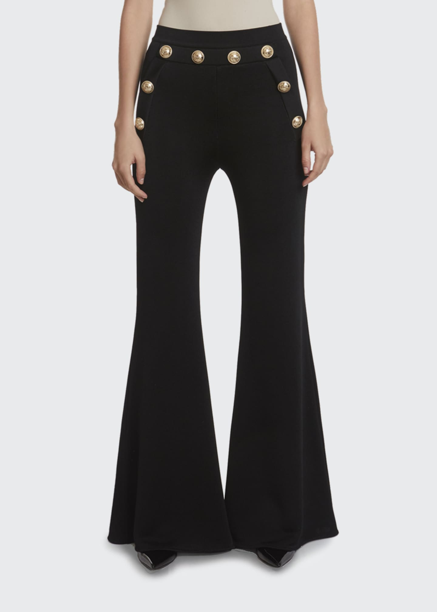 Image 1 of 2: Button-Embellished Flare Pants